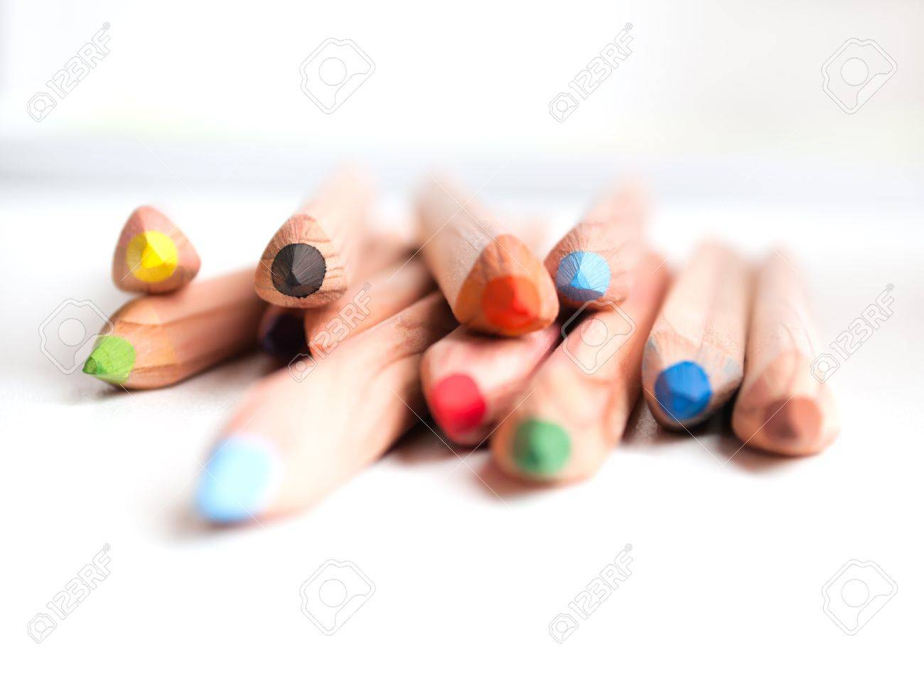 colored pencils on a window sill Small depth of field - 16024421