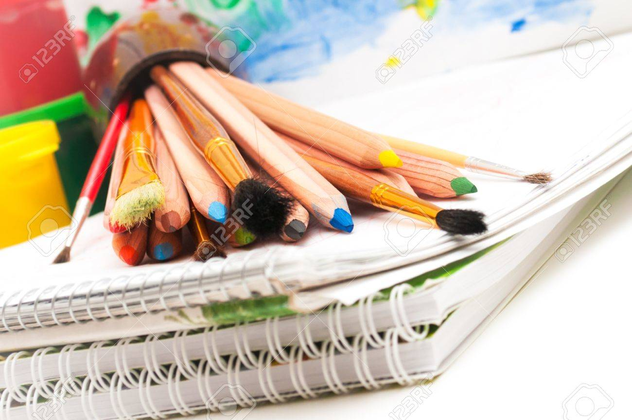 School stationery on the white close up - 16393748