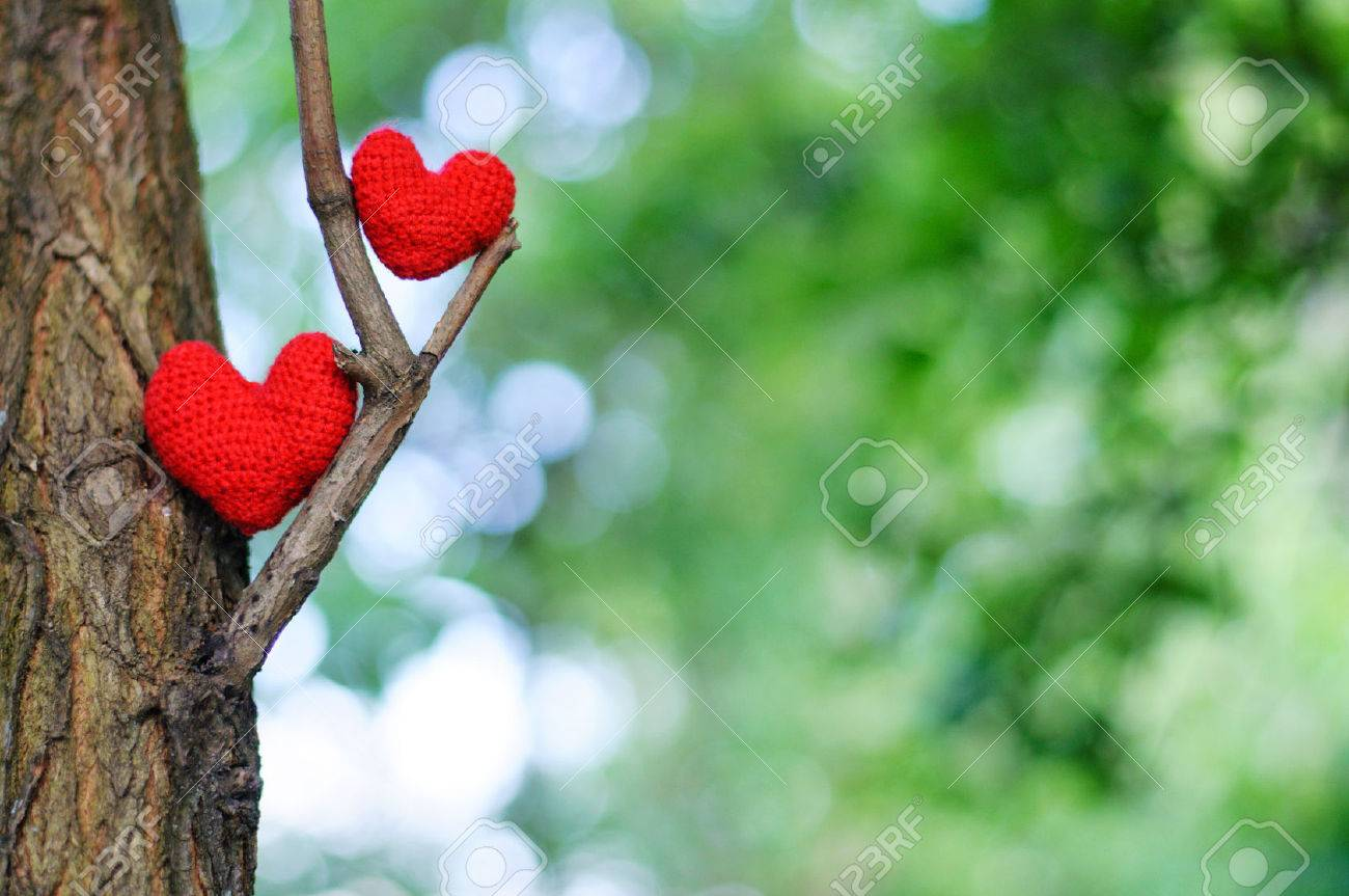 Two red hearts. valentines day postcard, I love you, - 42939485