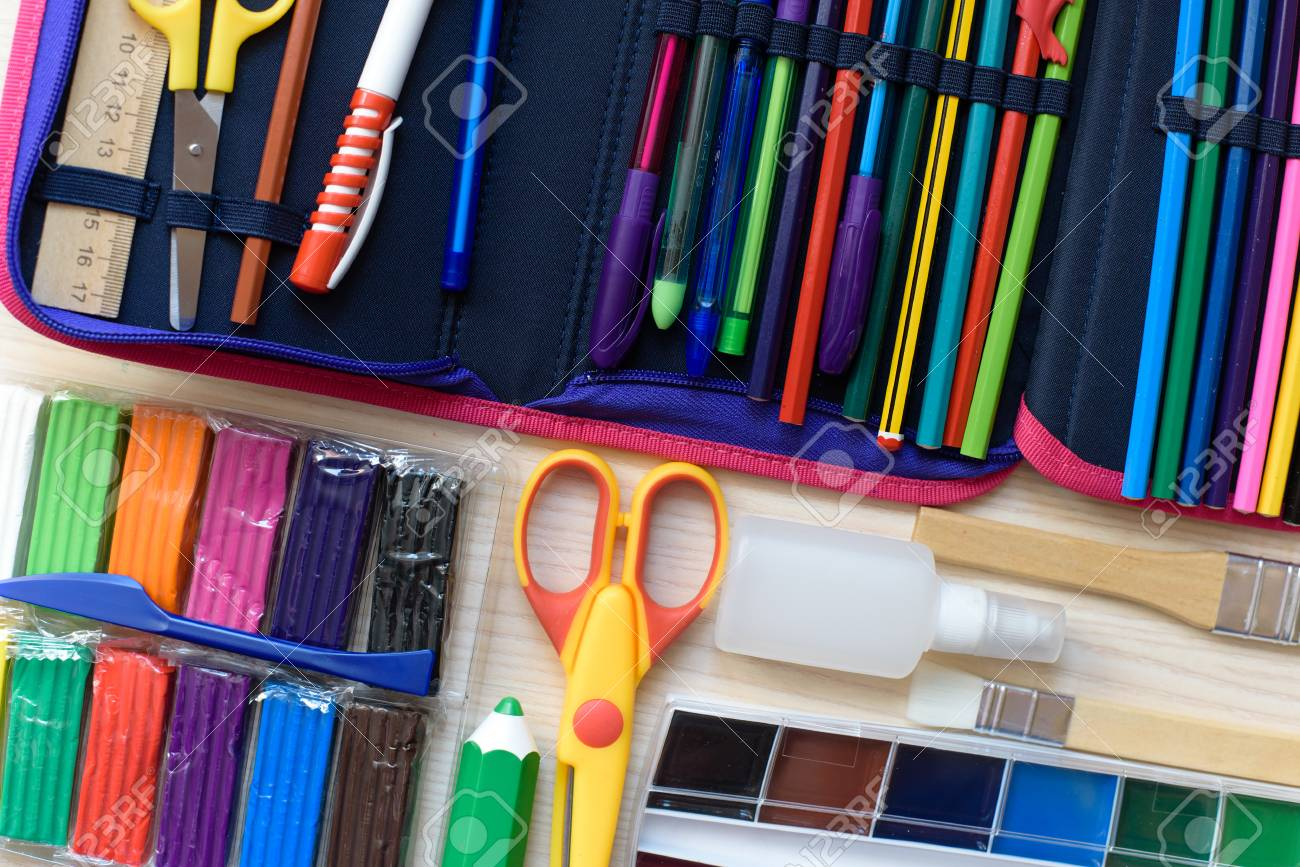 School supplies on the table Back to school concept. - 114535173
