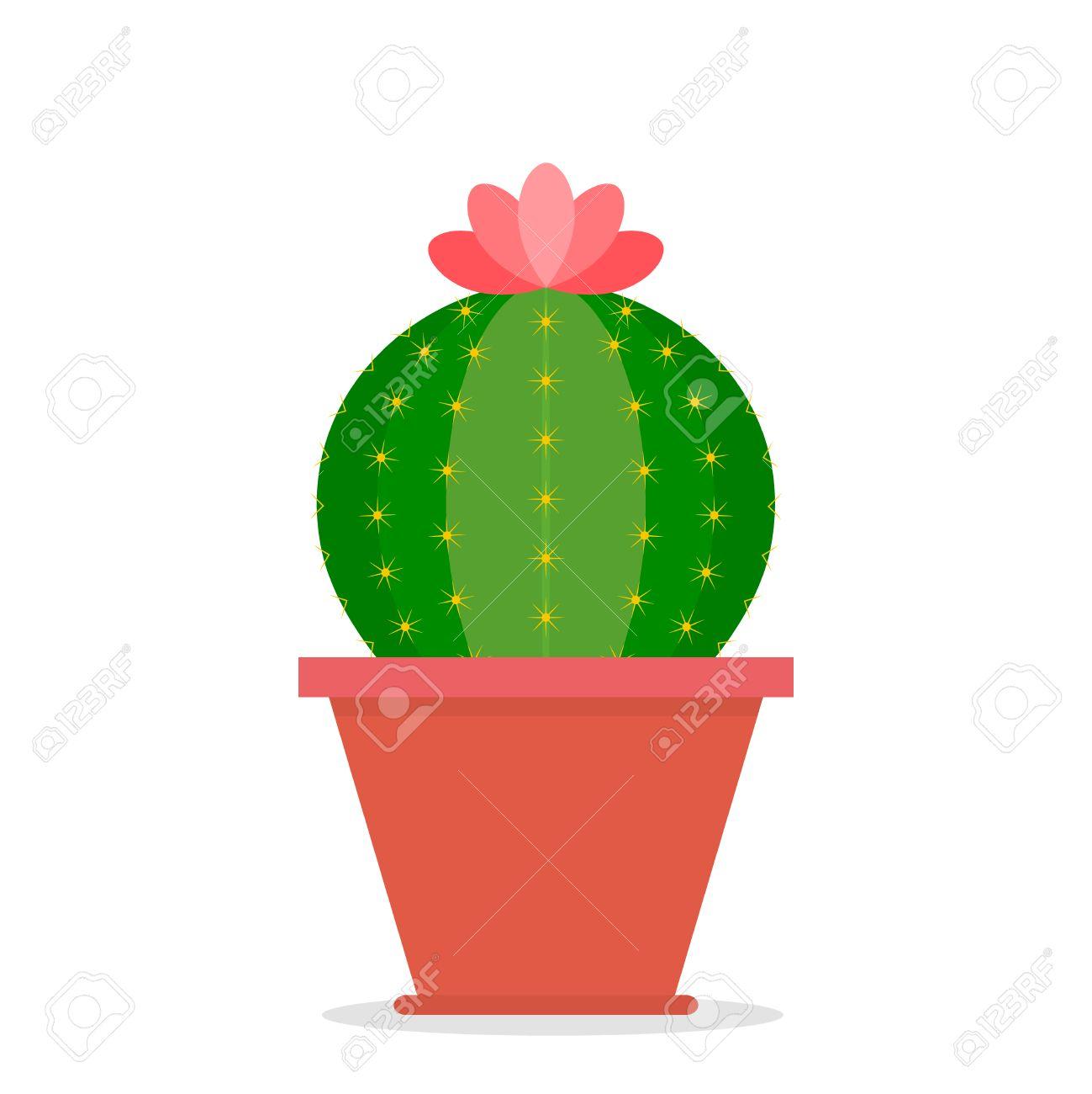 Cactus En Maceta De Flores Icono De Cactus Ilustracion De Dibujos