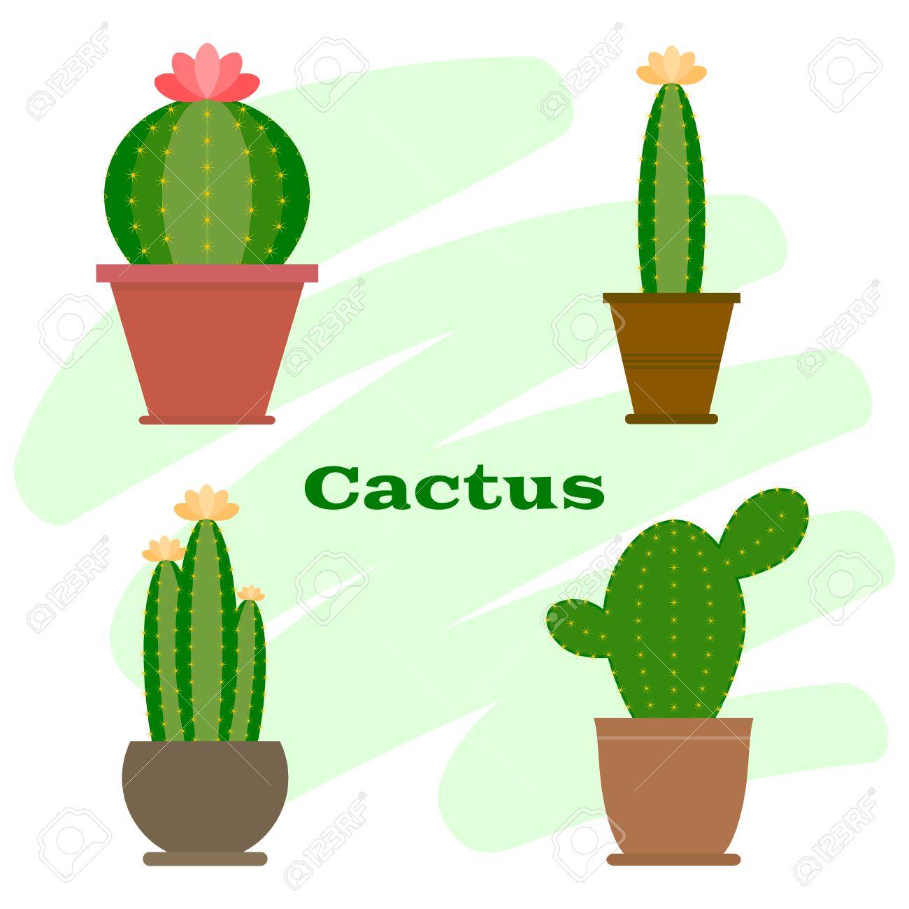 Set Kaktus Im Blumentopf Cactus Symbol Cartoon Cactus Illustration
