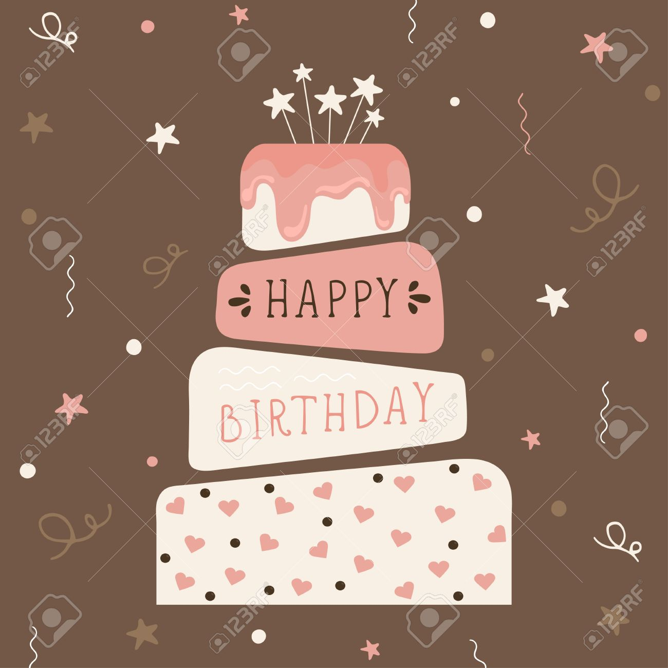 Cute Happy Birthday Card With Cake Birthday Cake Vector