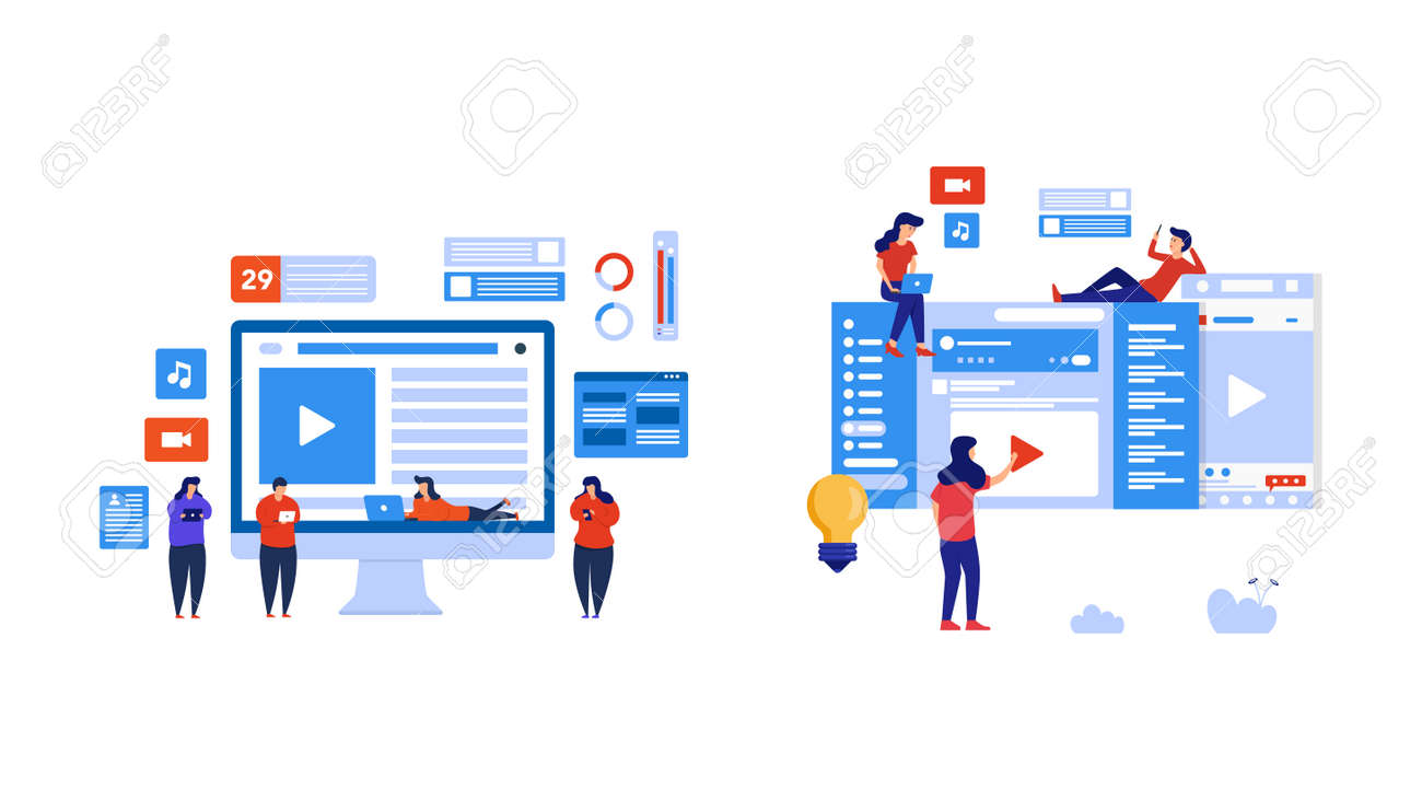Set of people play social media and watch live streaming. Element design with lifestyle or business concept for website development or social media advertising. - 151728268