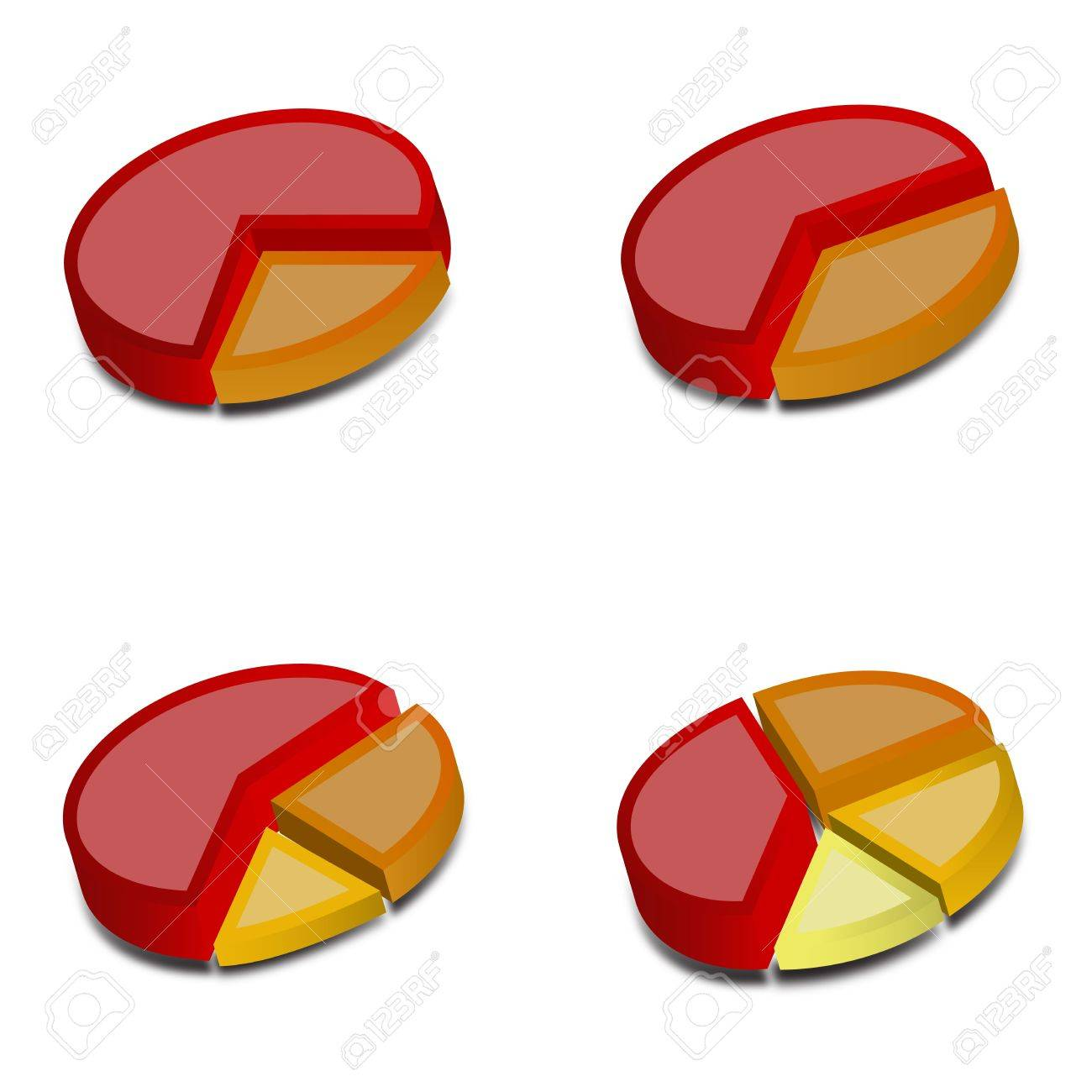 Four 3D pie charts with various amounts graphed with red, orange, yellow and goldenrod These vectored images may be used in a wide variety of displays - 15978082