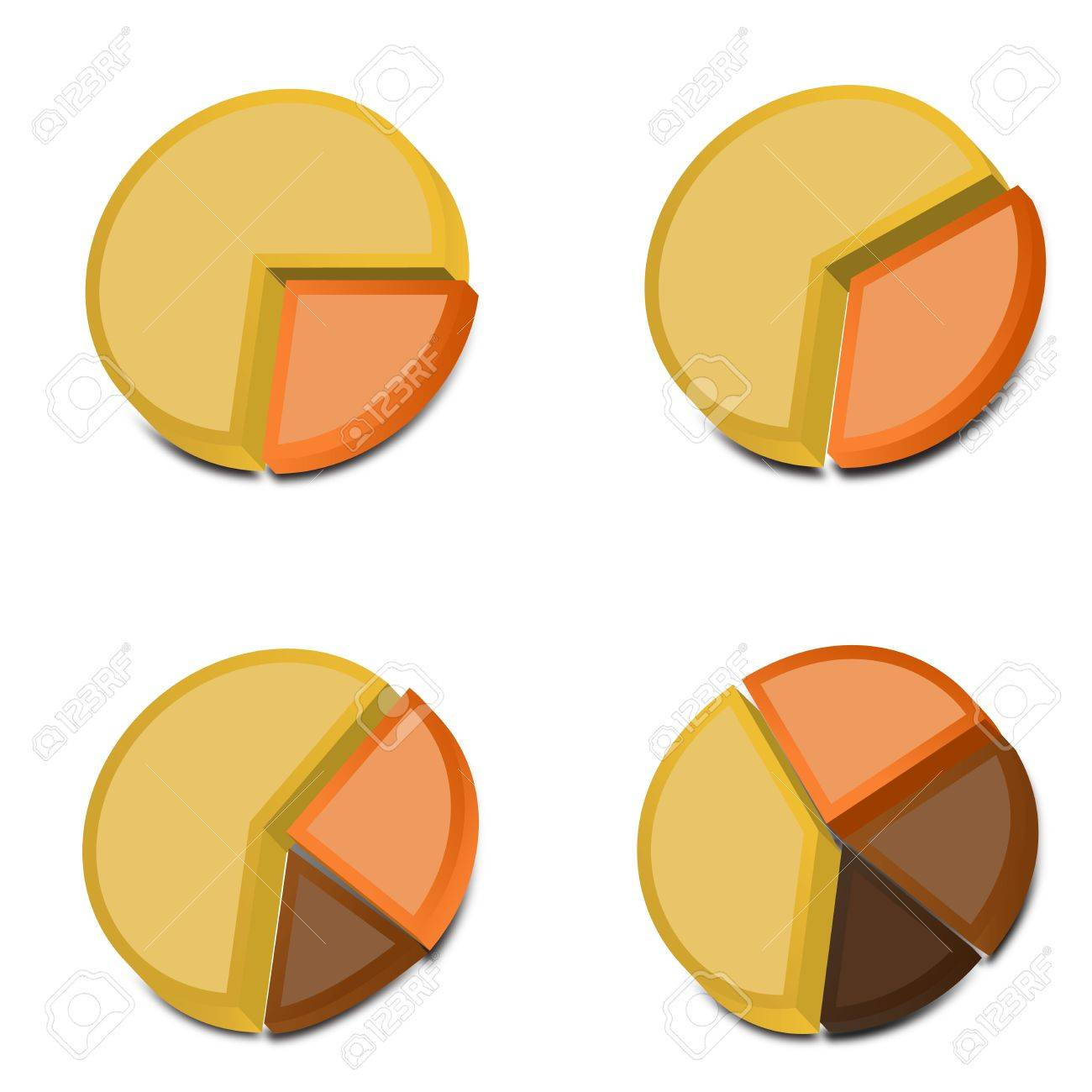 Four 3D pie charts with various amounts graphed with yellow, orange and two shades of brown These vectored images may be used in a wide variety of displays - 15978083