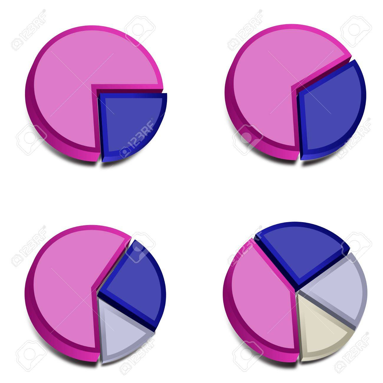 Four 3D pie charts with various amounts graphed with purple, blue, gray and ivory These vectored images may be used in a wide variety of displays - 15978084