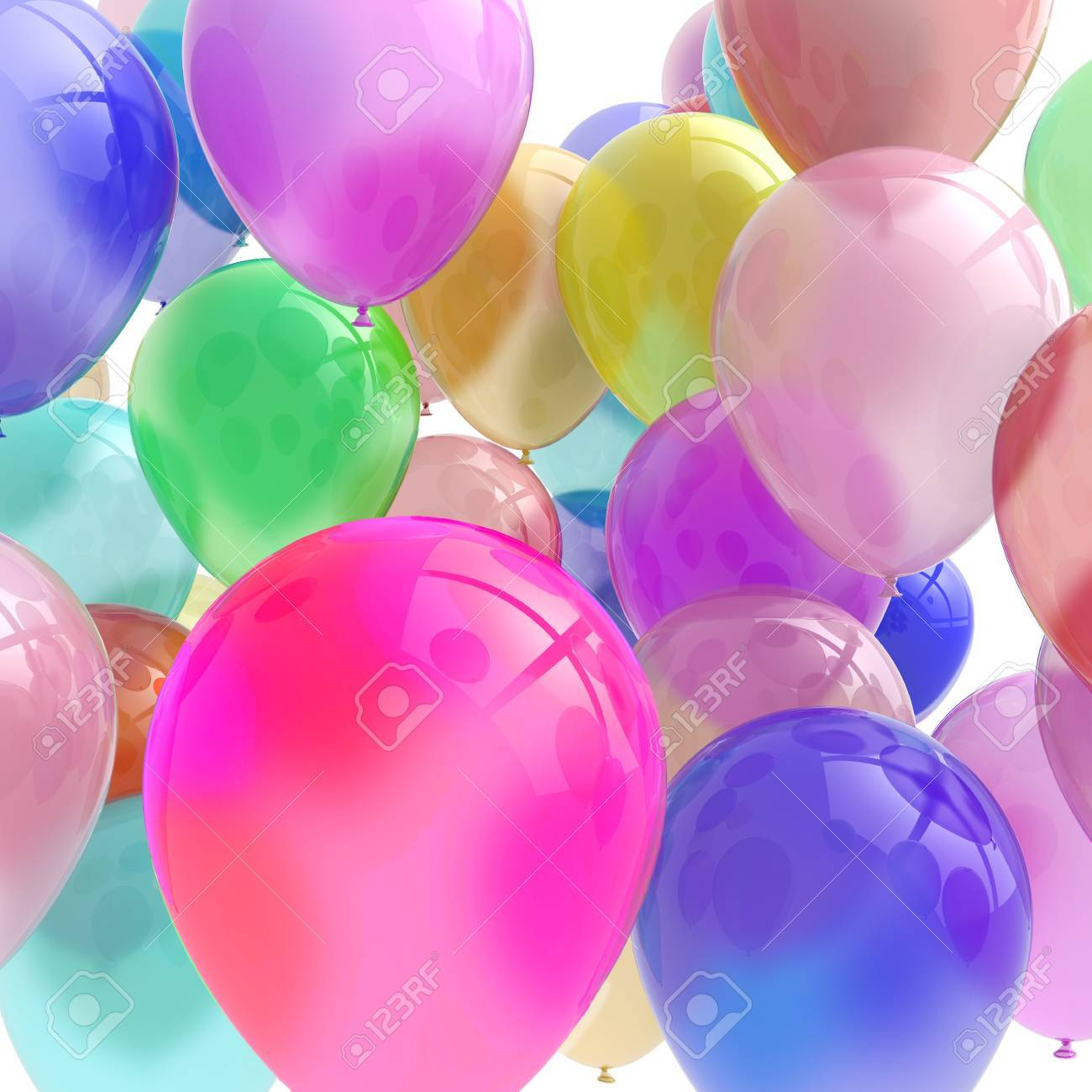 This lovely 3D rendered image of balloons could have many uses - 17991307