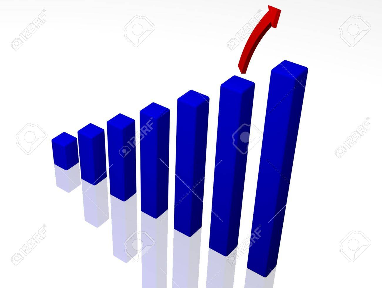 A 3D rendered bar graph with a soaring arrow on a reflective surface. - 18908510