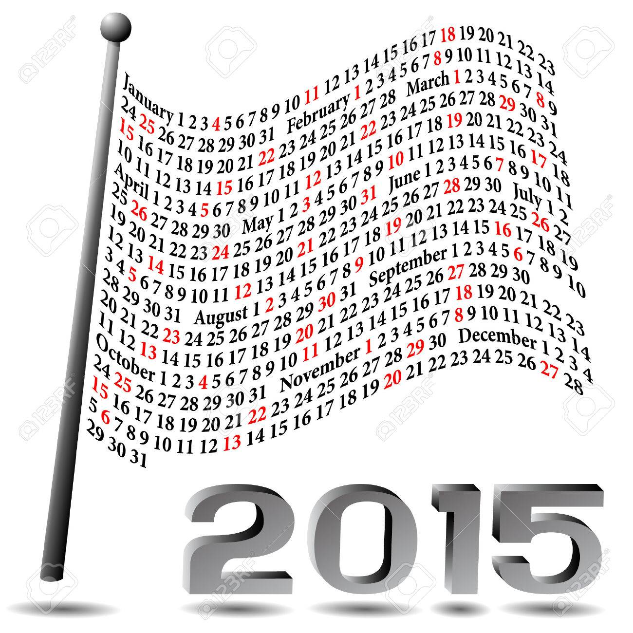 This calendar of 2015 is represented as a waving flag with a 3D appearance. Each Sunday is colored in red - 30482435