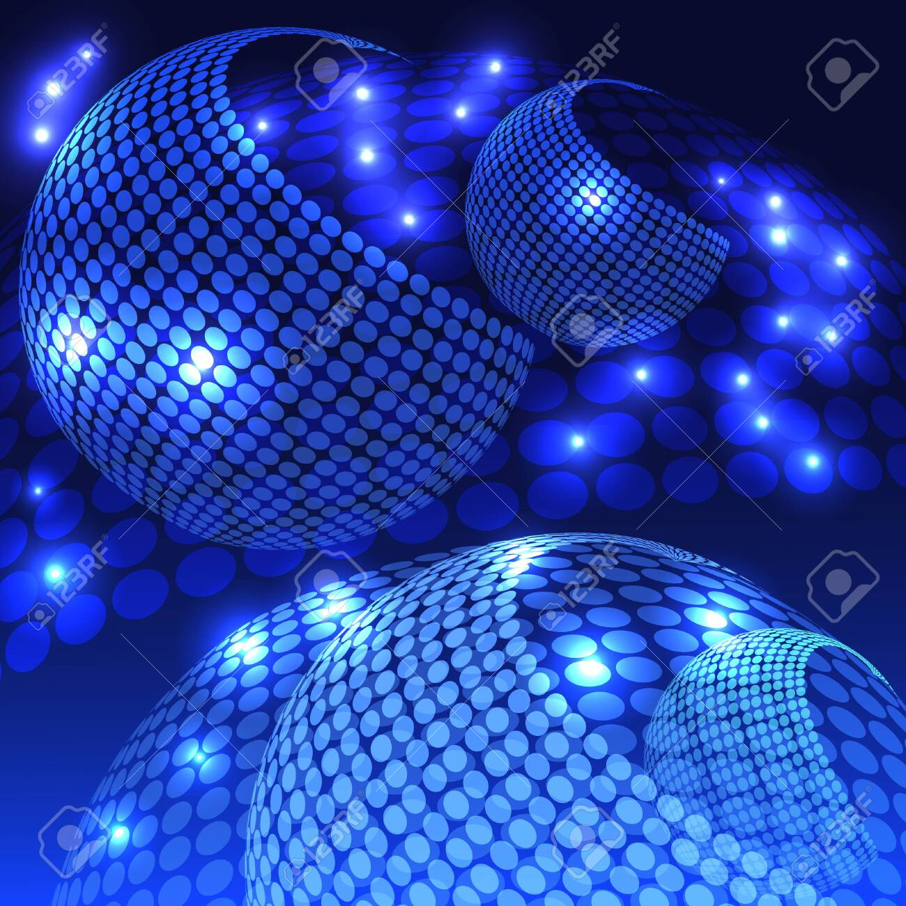 An abstract rendering of a disco night with shades of blue. - 130400266