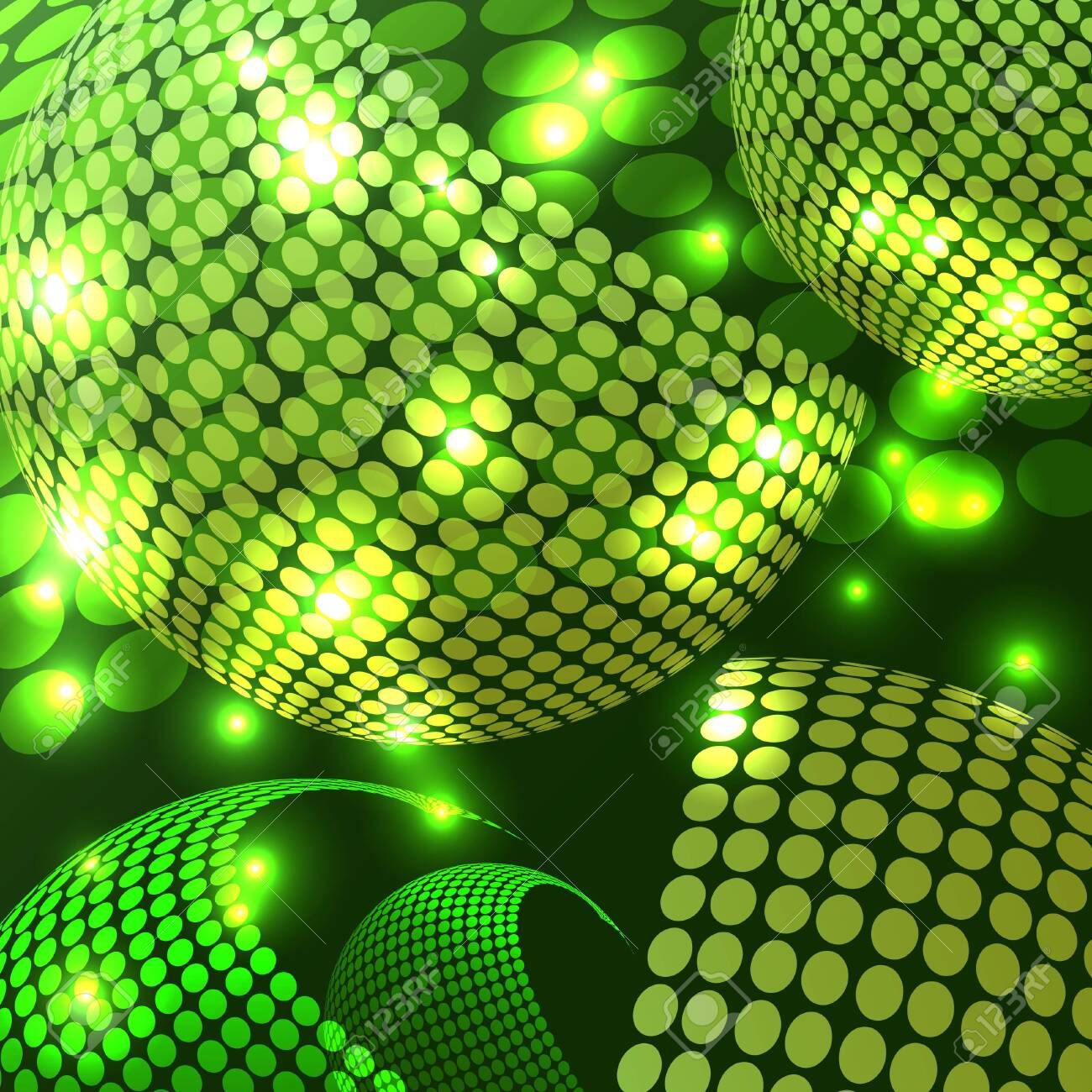 An abstract rendering of a disco night with shades of green. - 130400269