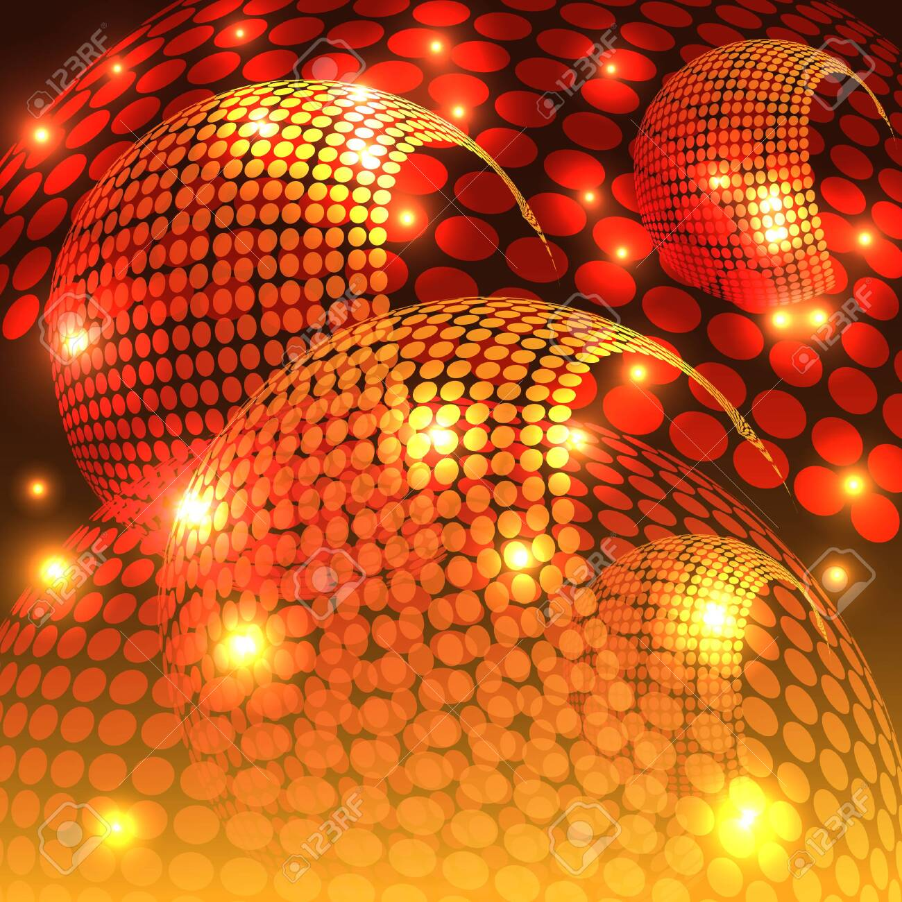 An abstract rendering of a disco night with shades of orange. - 130400270