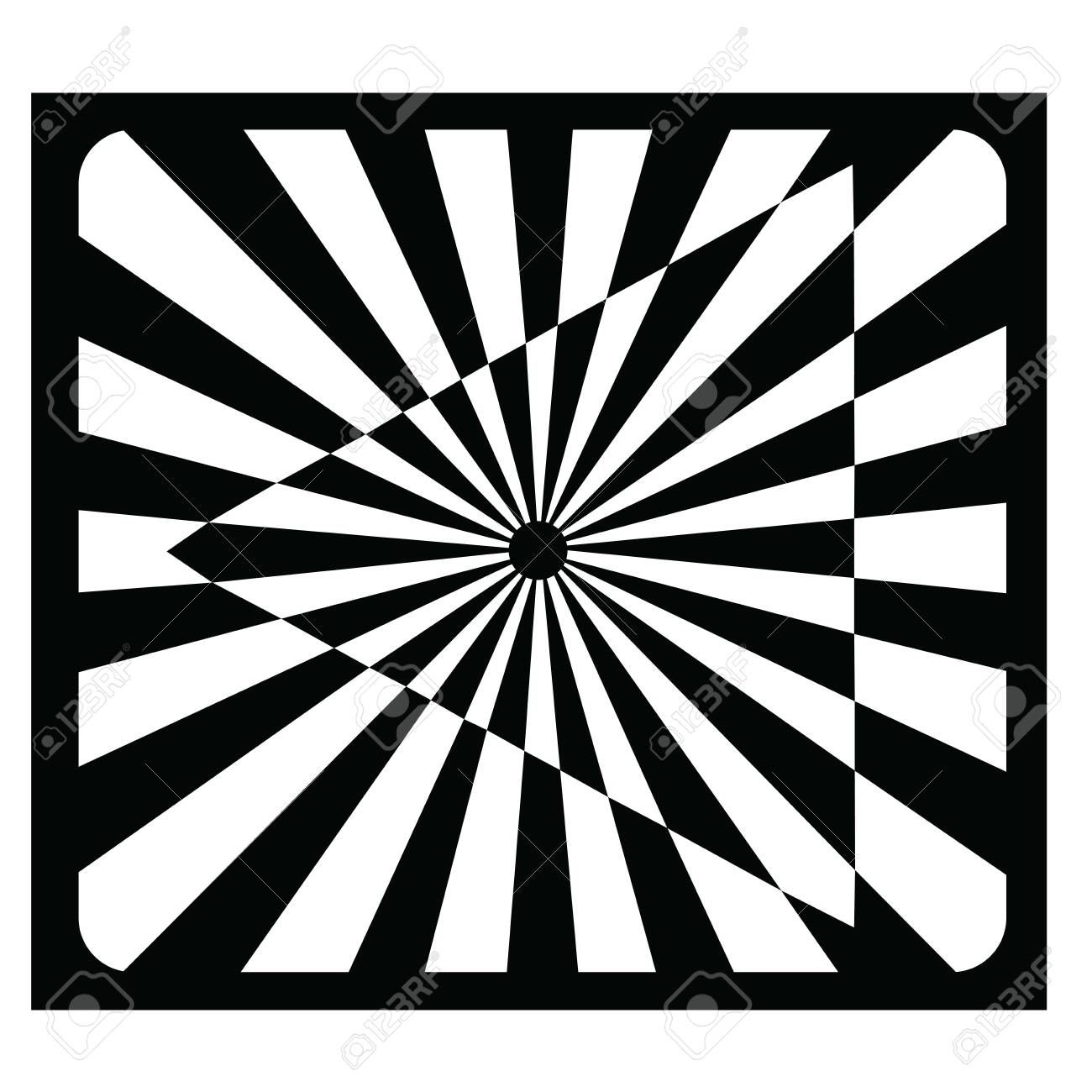An opt art illustration of an optical illusion created with black and white shapes of rectangles, triangles, a rounded rectangle and a circle. - 130400267