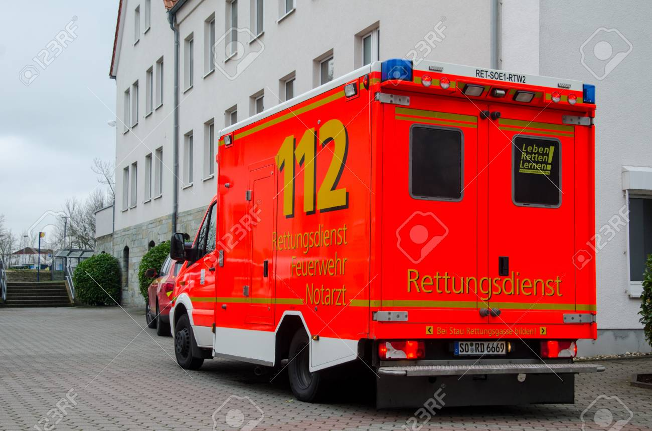 Soest, Germany - December 23, 2017: German ambulance service