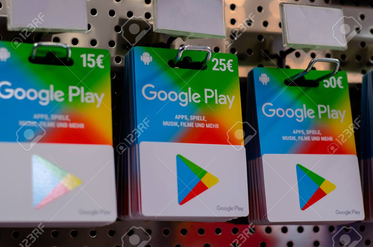 Soest, Germany - December 22, 2018: GOOGLE PLAY gift cards for