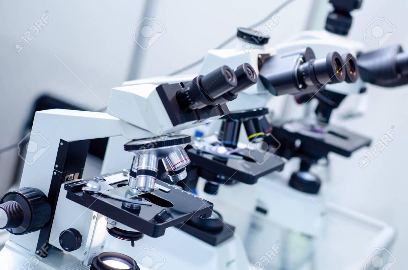 Close-up of microscopes at laboratory. - 134641563