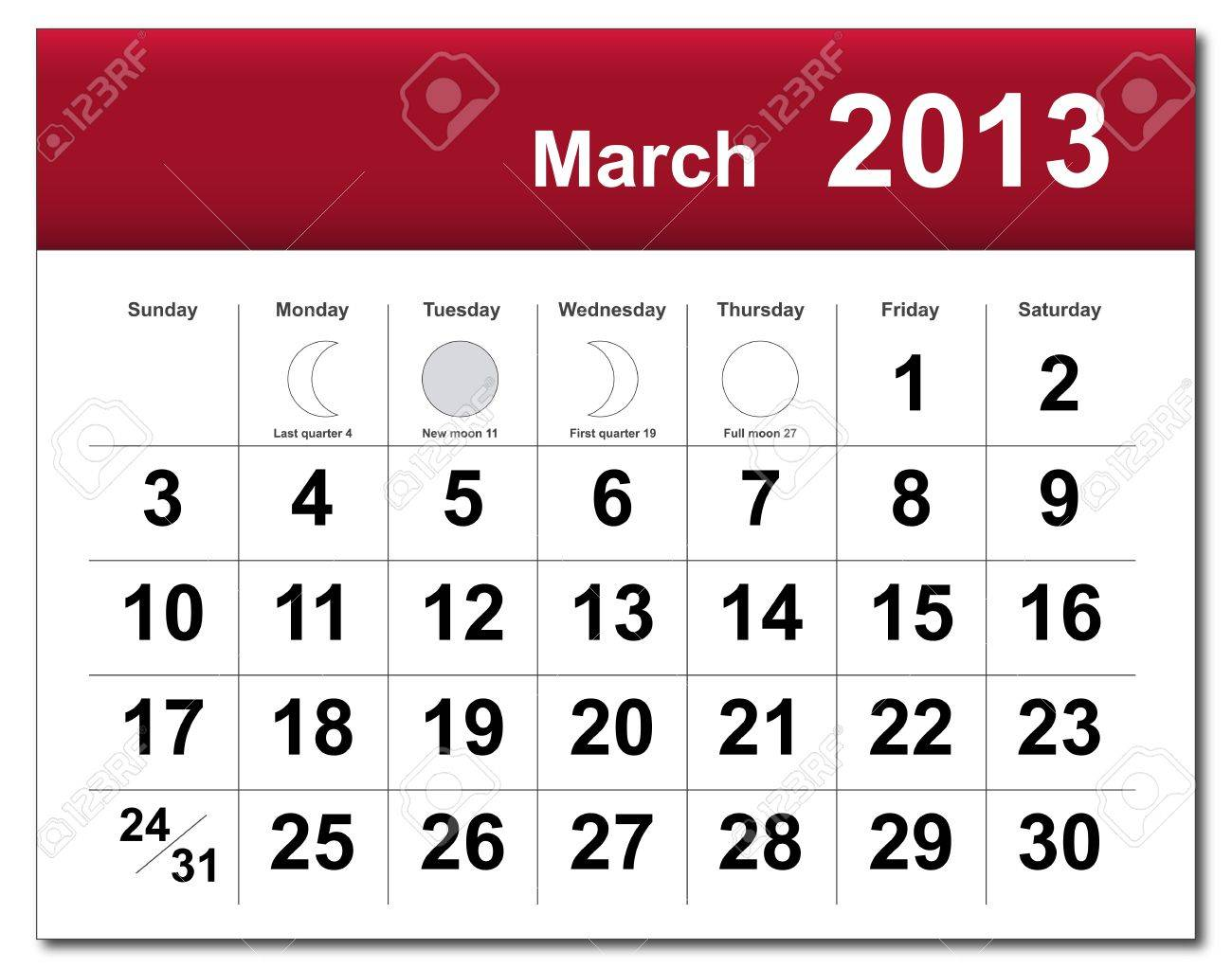March 2013 calendar. Stock Vector - 14856361