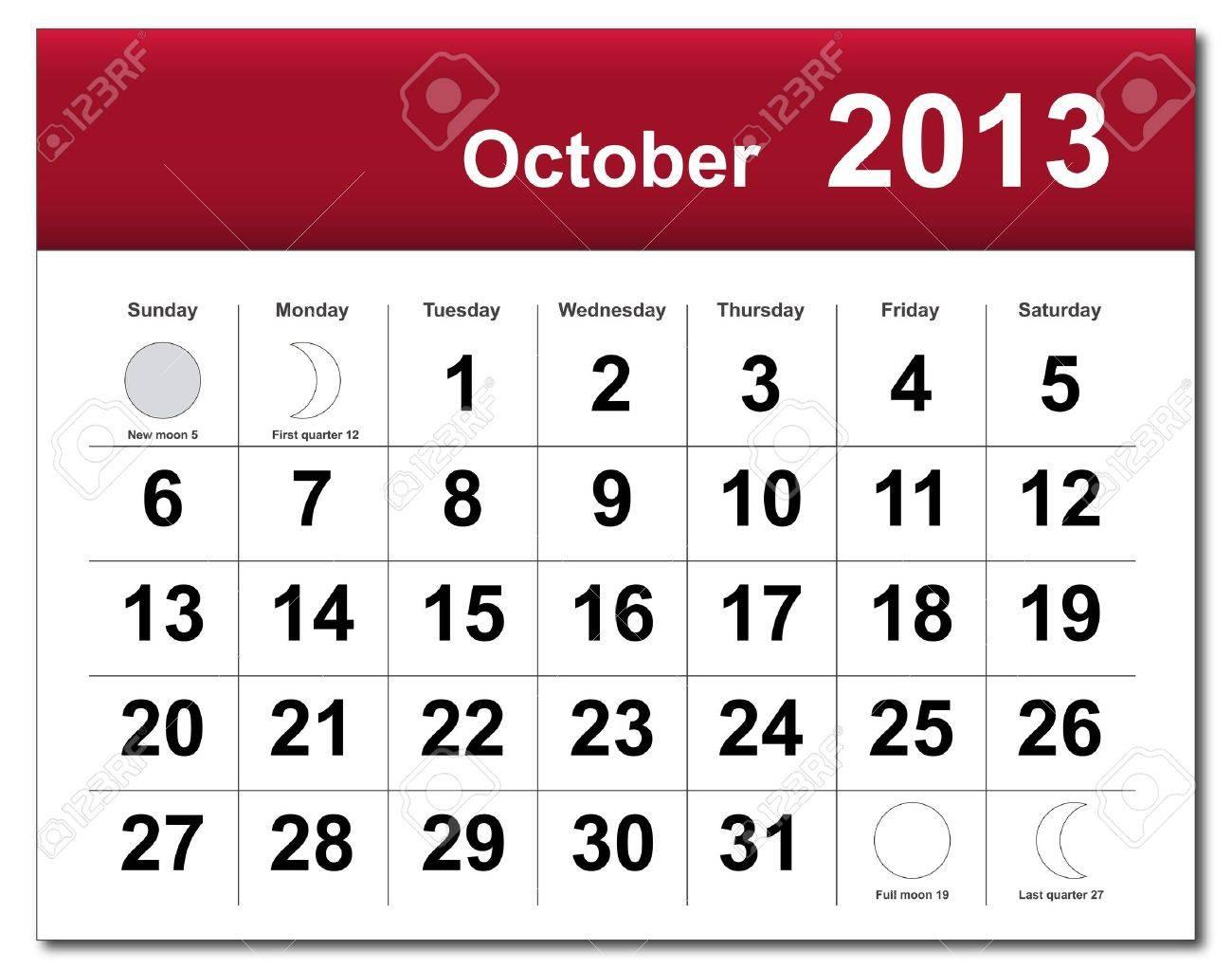 October 2013 calendar. Stock Vector - 14856368
