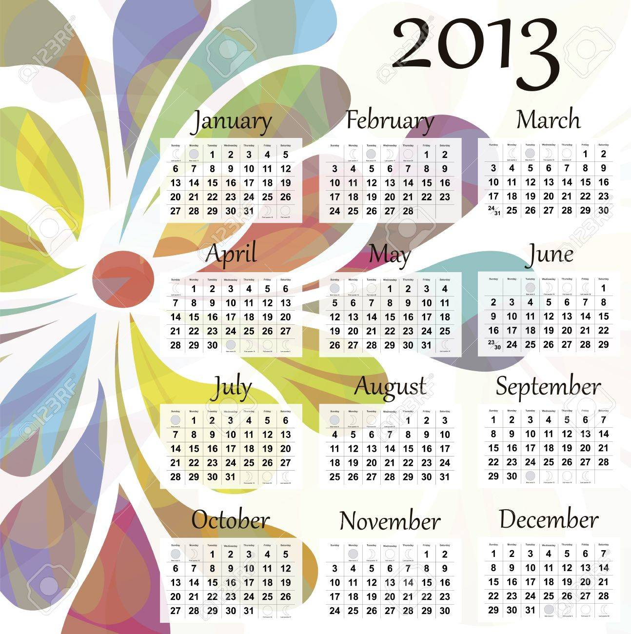 2013 calendar. Beautiful and colorful design over white. Raster version is in my portfolio. Stock Vector - 15449825