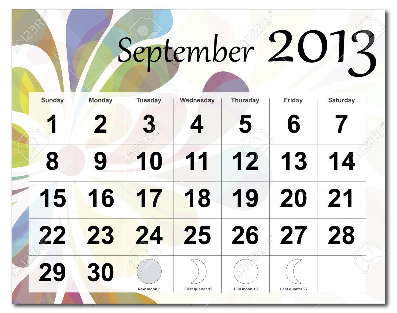 September 2013 calendar. Beautiful and colorful design over white. Raster version is in my portfolio. Stock Vector - 15450220