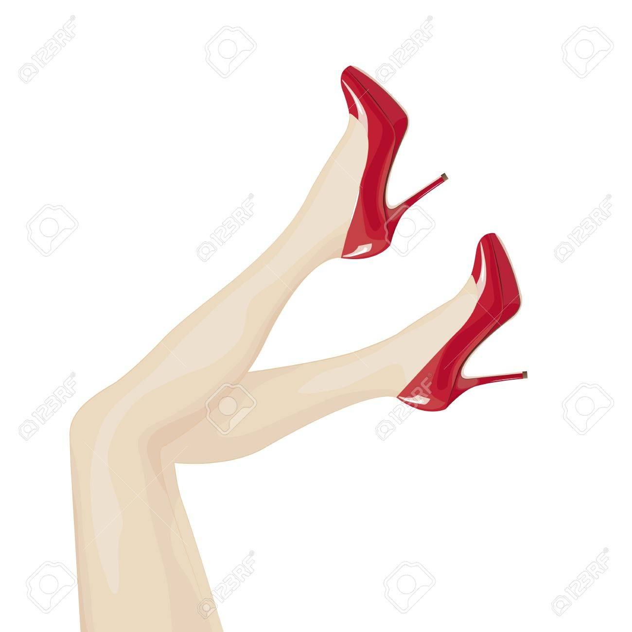 Female legs in high heels over white background Stock Vector - 16675539