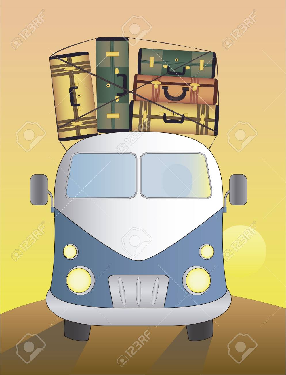 Blue van with luggage on it, driving at sunset Stock Vector - 16675544