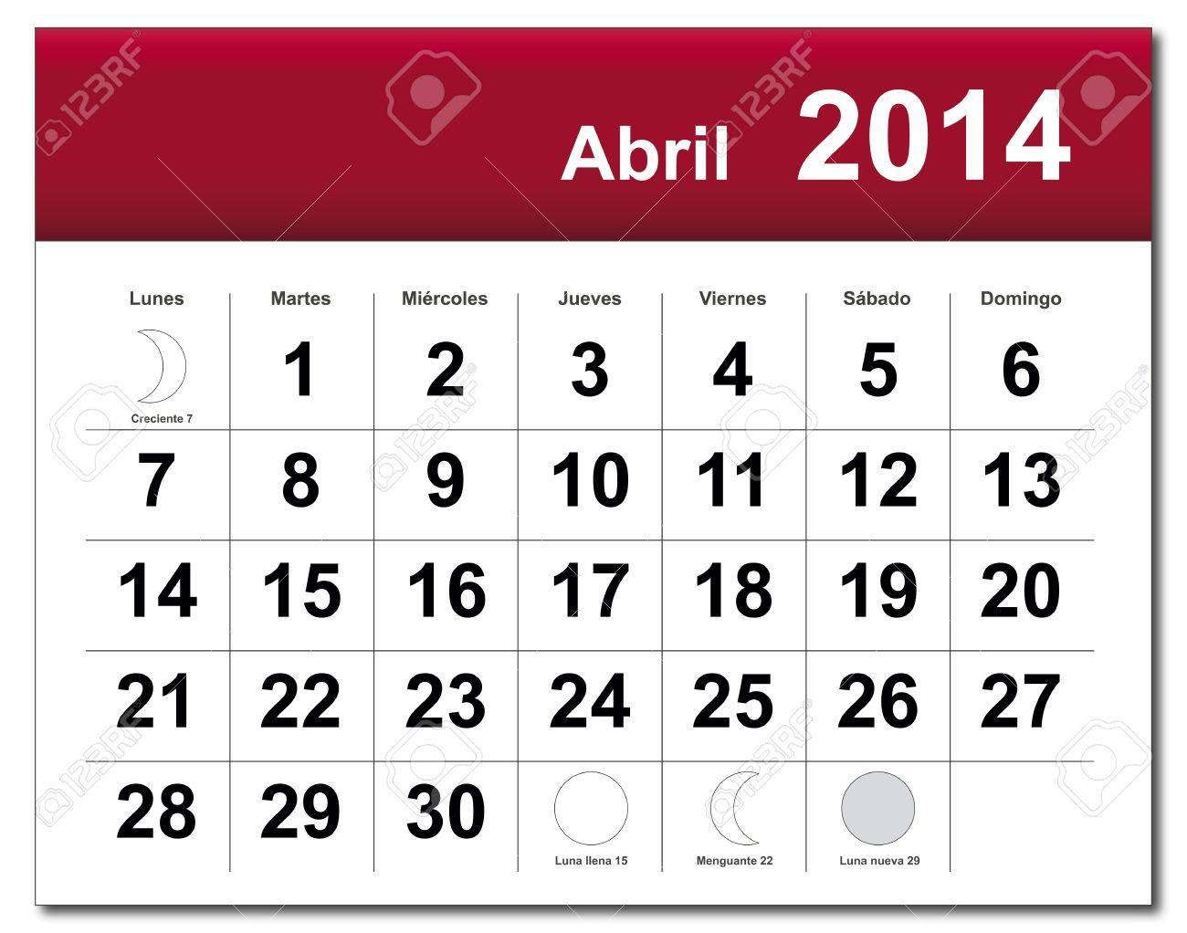 Spanish version of April 2014 calendar. Stock Vector - 21643847