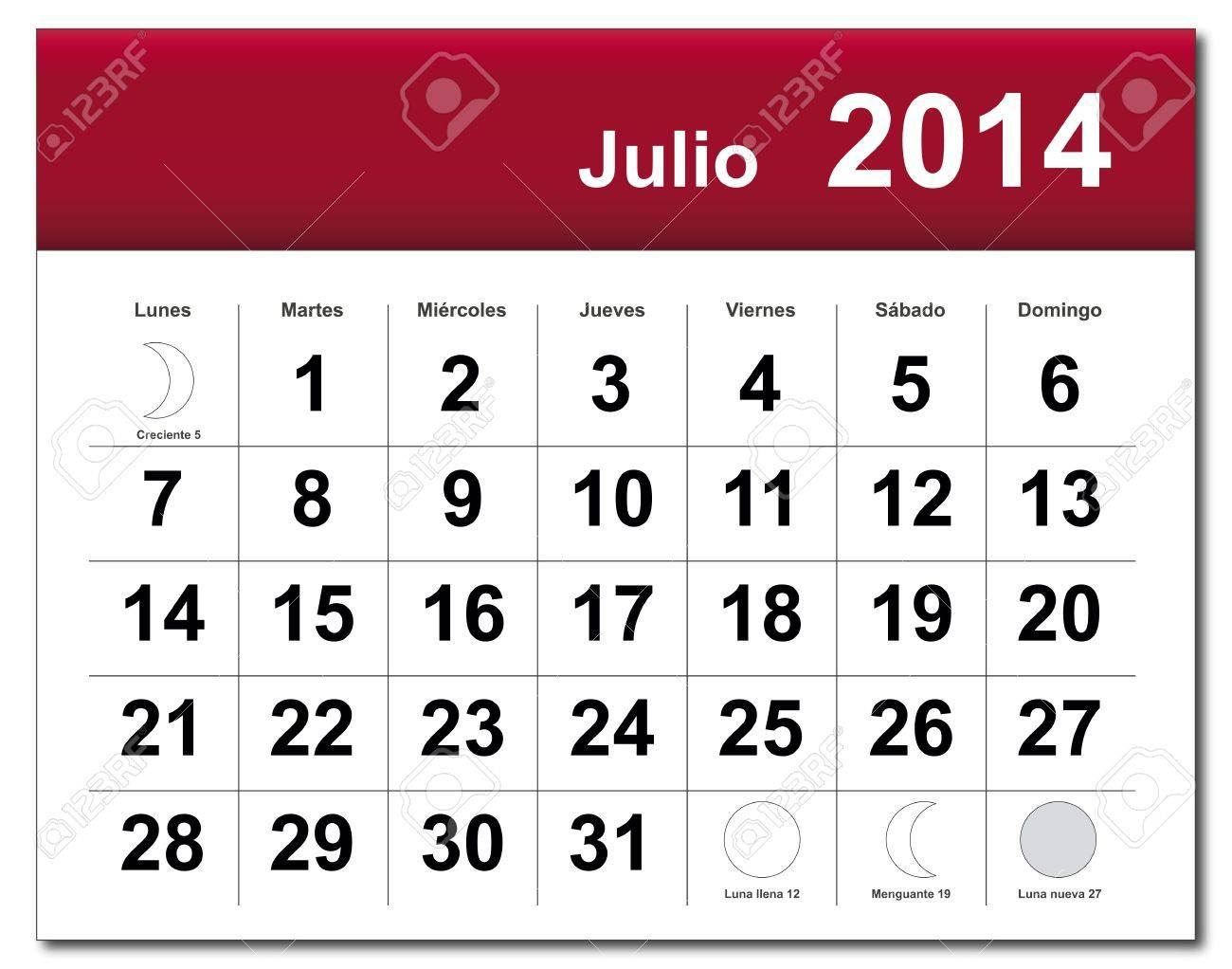 Spanish version of July 2014 calendar. Stock Vector - 21643844