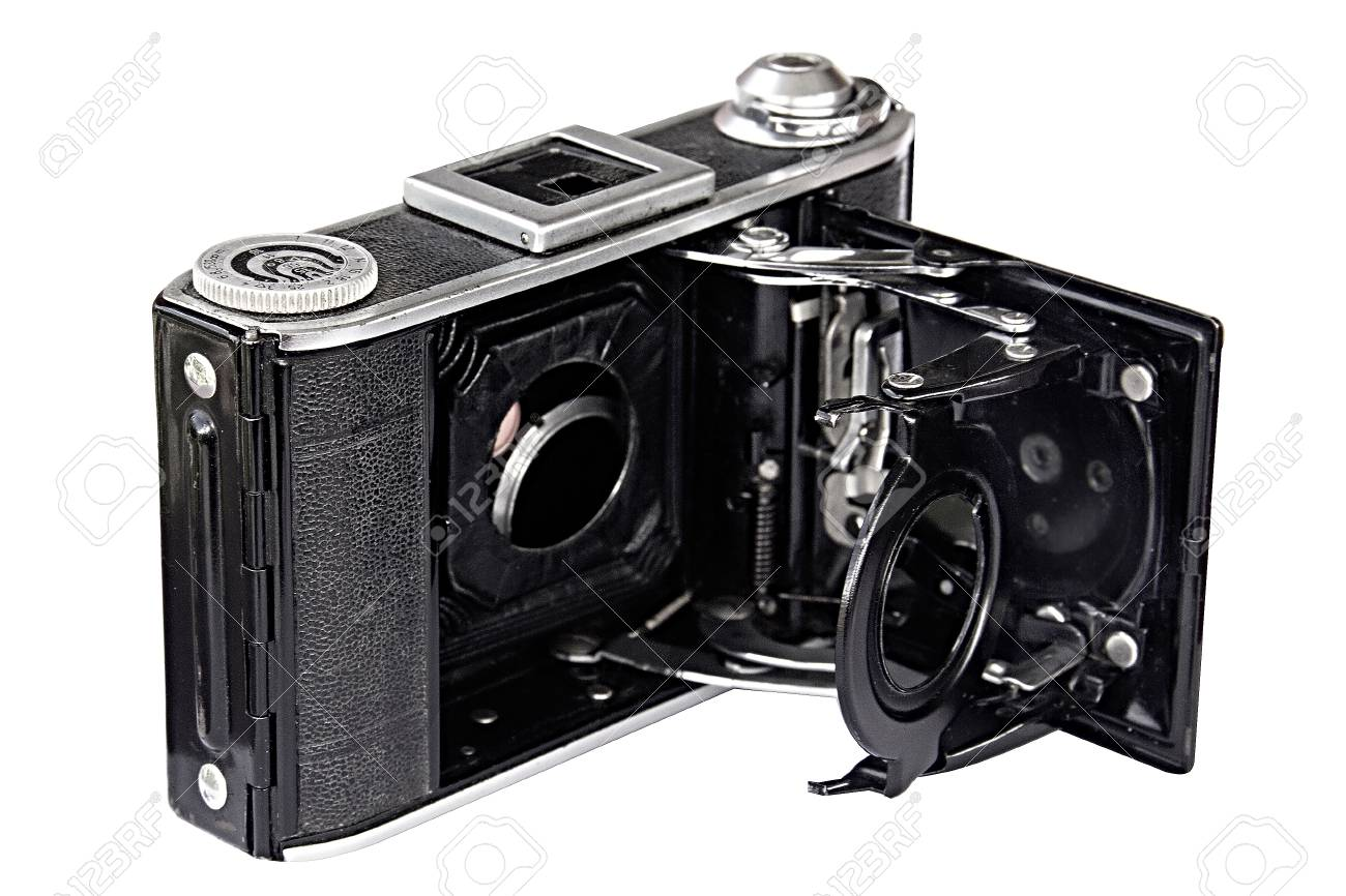 check out fd7ee e628b retro old photo camera on white background. without lens. Stock Photo -  80003338