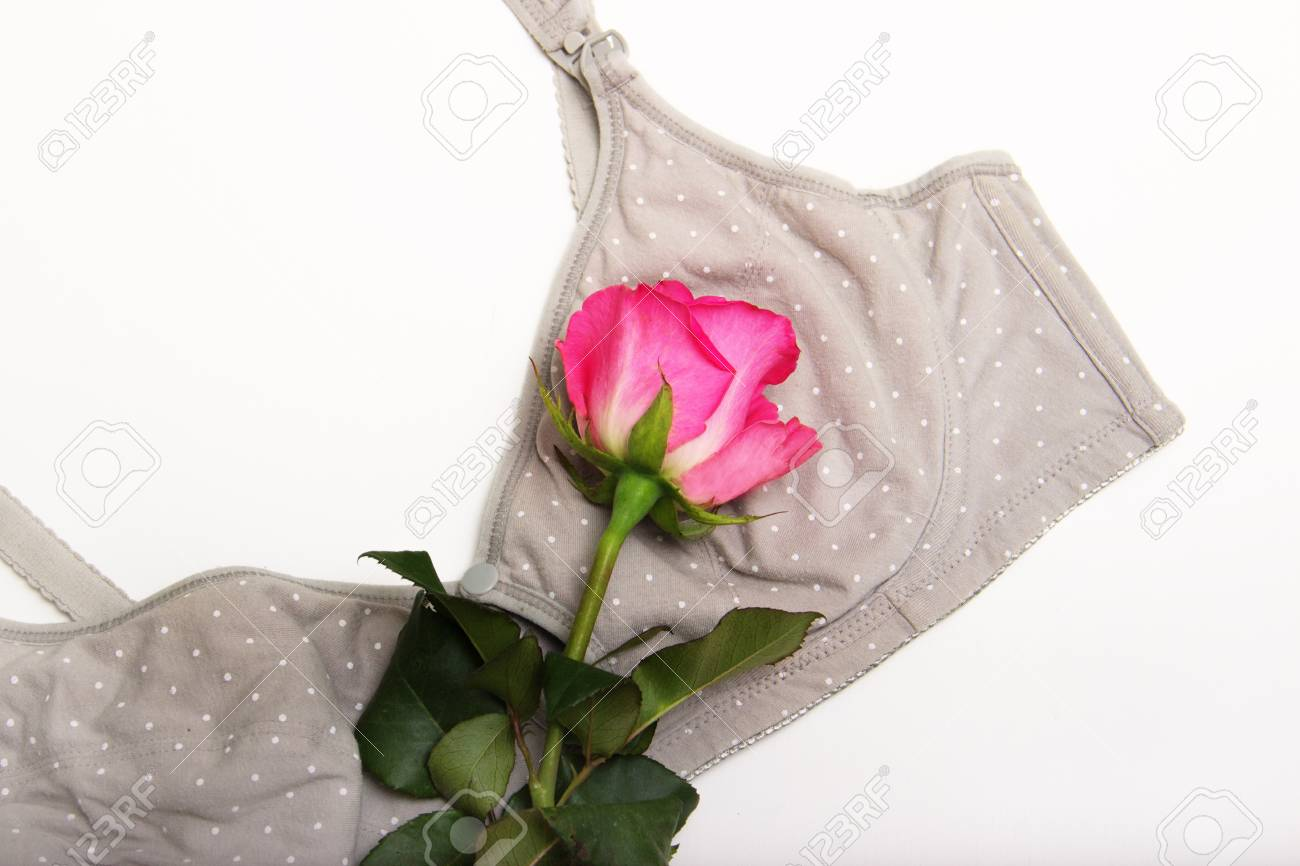 Nursing Bra For Mothers Moms Bra With A Rosebud Of Pink Color