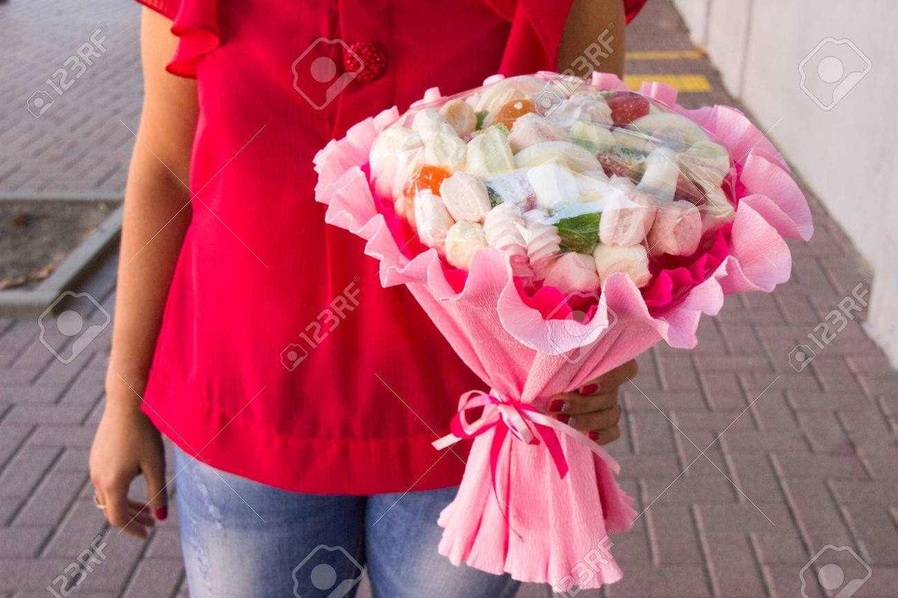 The Original Edible Bouquet Of Marmalade, Marshmallow In Woman\'s ...