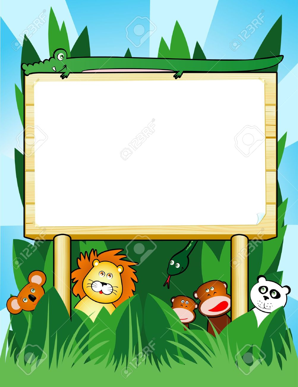 Wooden sign customizable with jungle animals, vector Stock Vector - 9353238