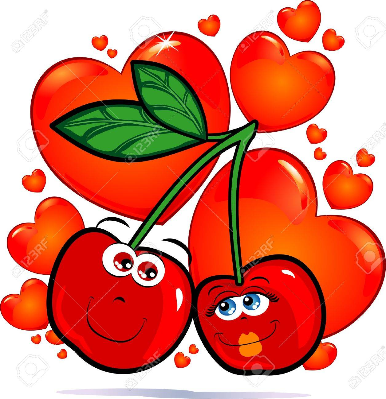 Cherries in love, vector image Stock Vector - 9483814