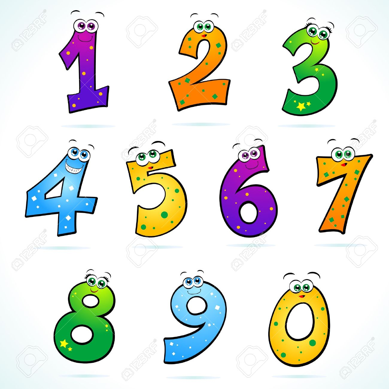 Series Of Funny Numbers Stock Vector