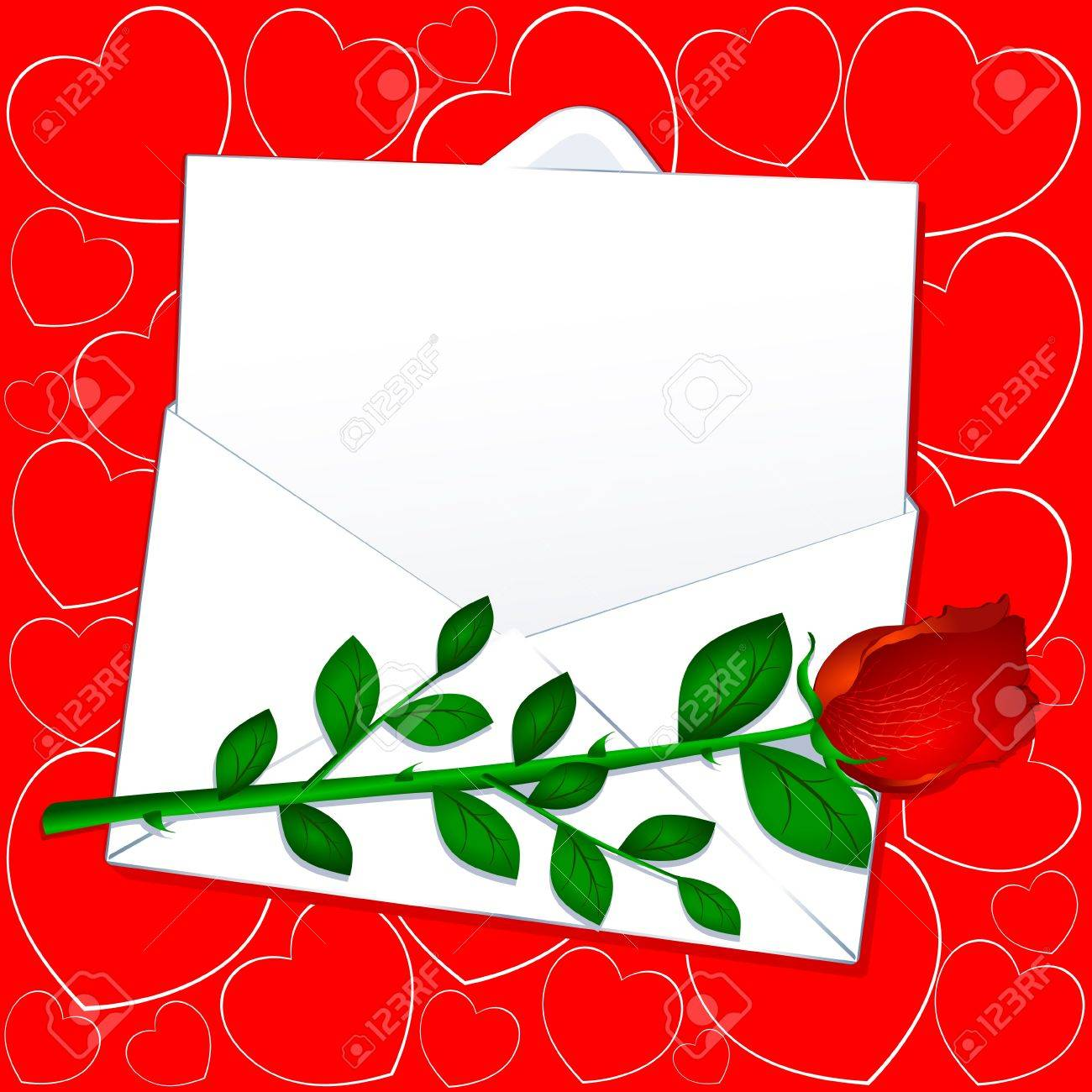 love letter with red rose vector stock vector 9572357