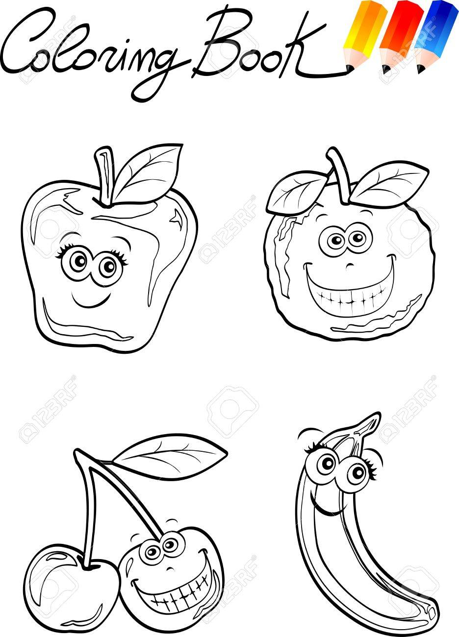 coloring book for children fruits royalty free cliparts vectors