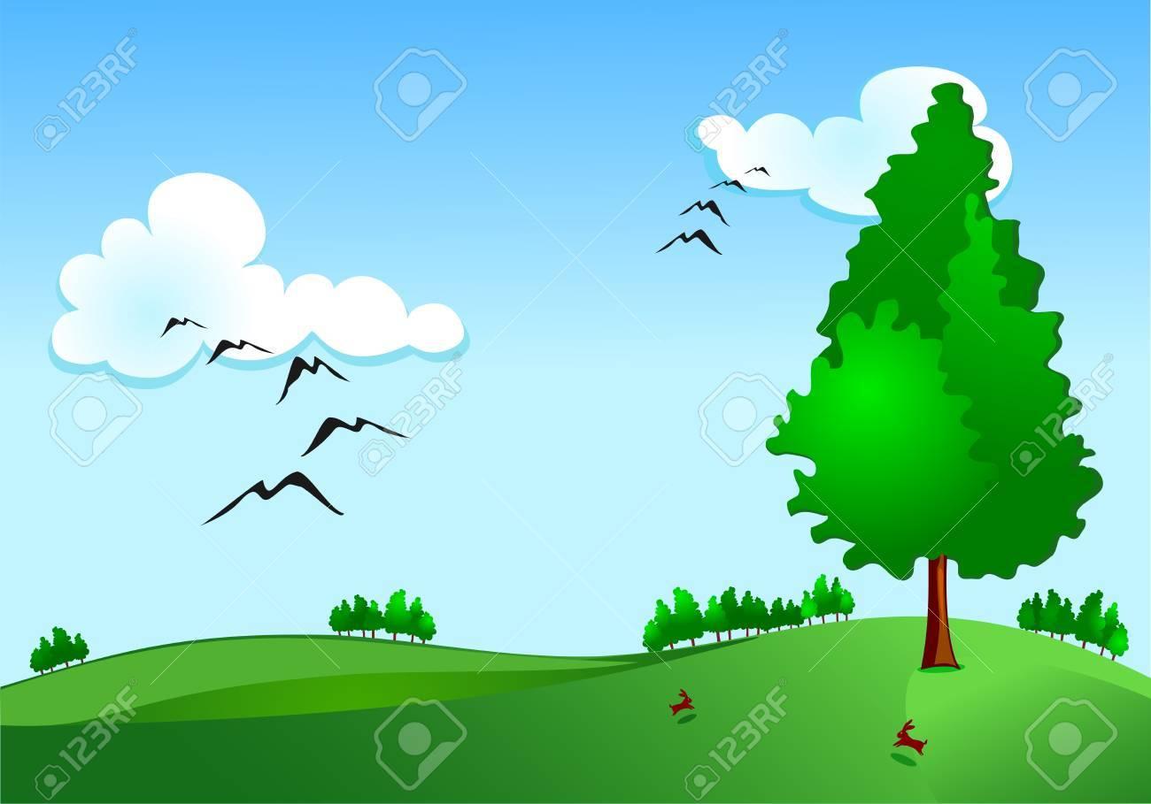 Rural landscape Stock Vector - 9893118