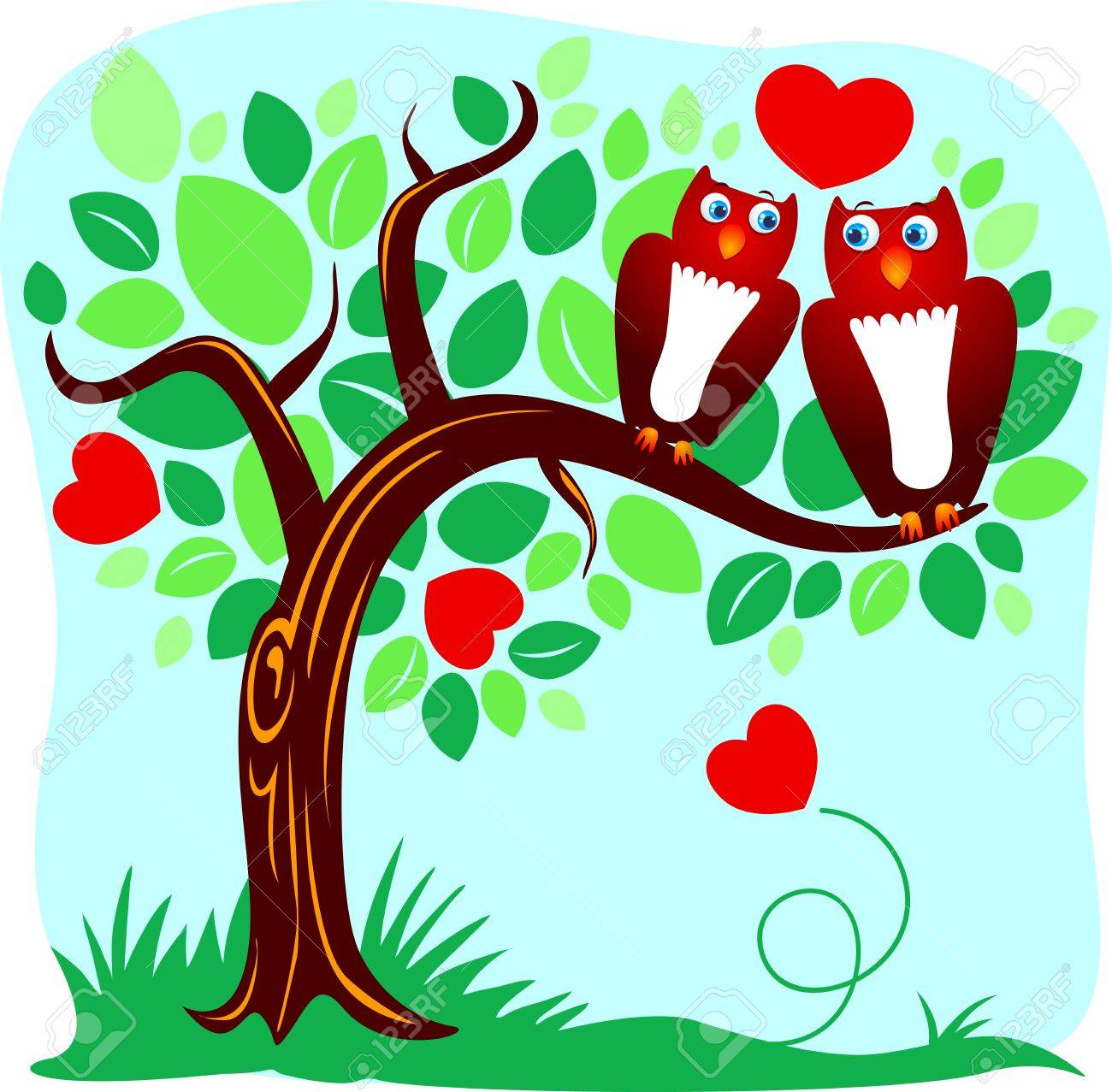 Two owls in love kissing on a branch Stock Vector - 9893111