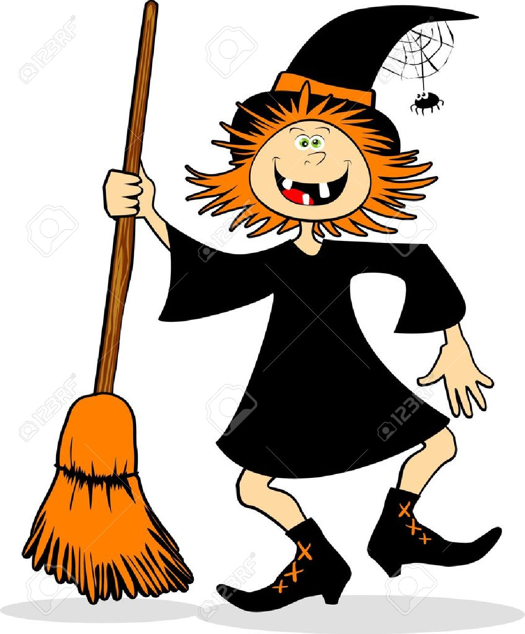 old witch a funny witch jumping the broom vector illustration - Halloween Witch Cartoon