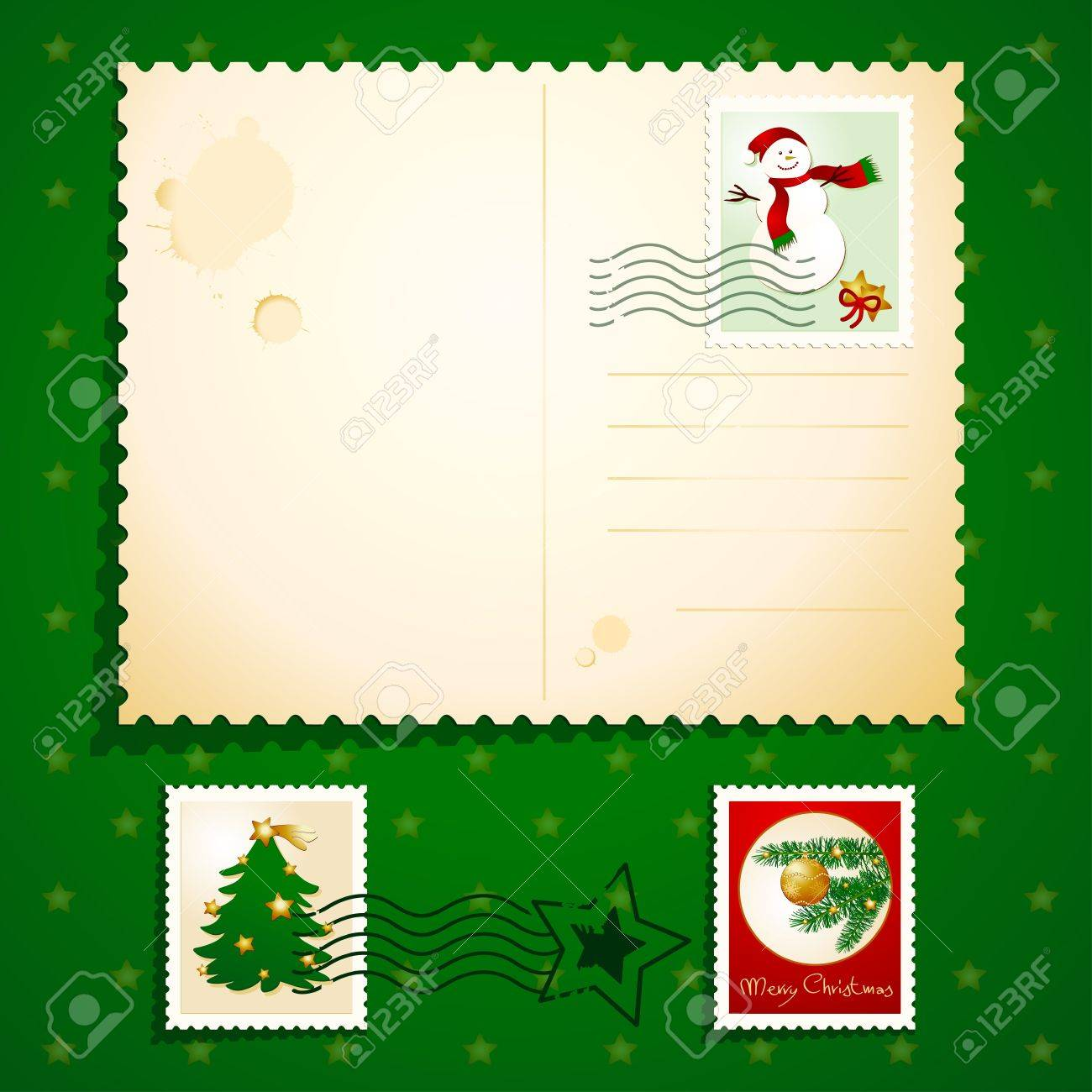 Christmas postcard with stamps, vector - 10442374