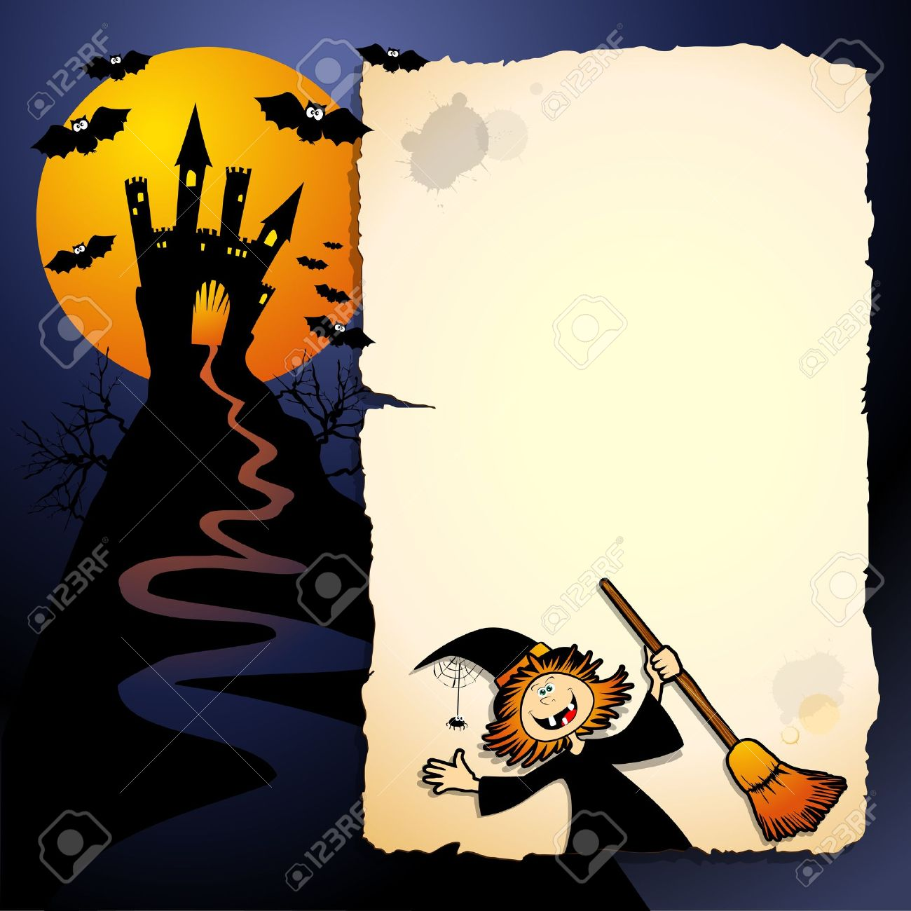 Halloween funny background, vector image - 10632171