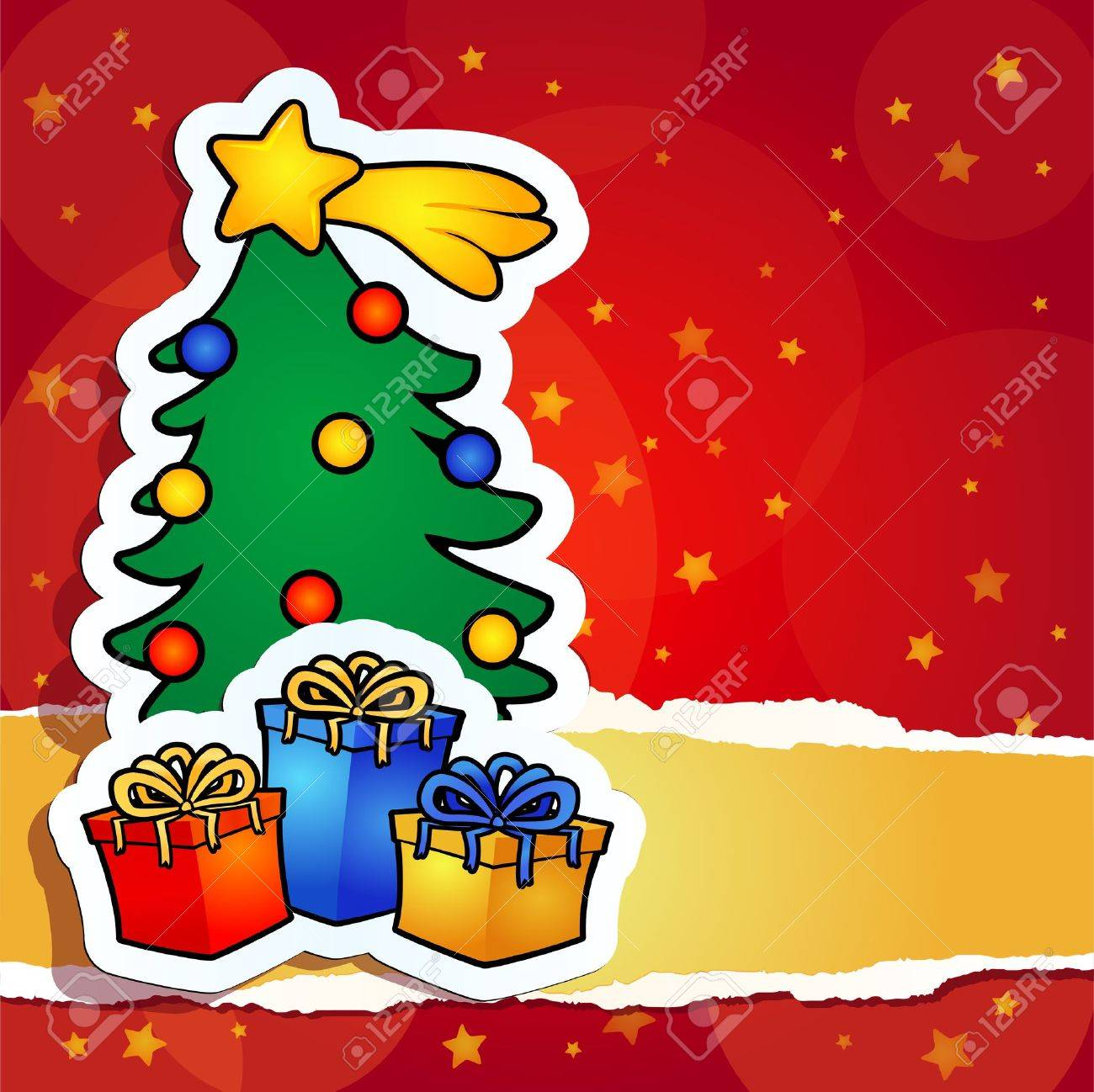 christmas background with tree and gift, vector Stock Vector - 10842633