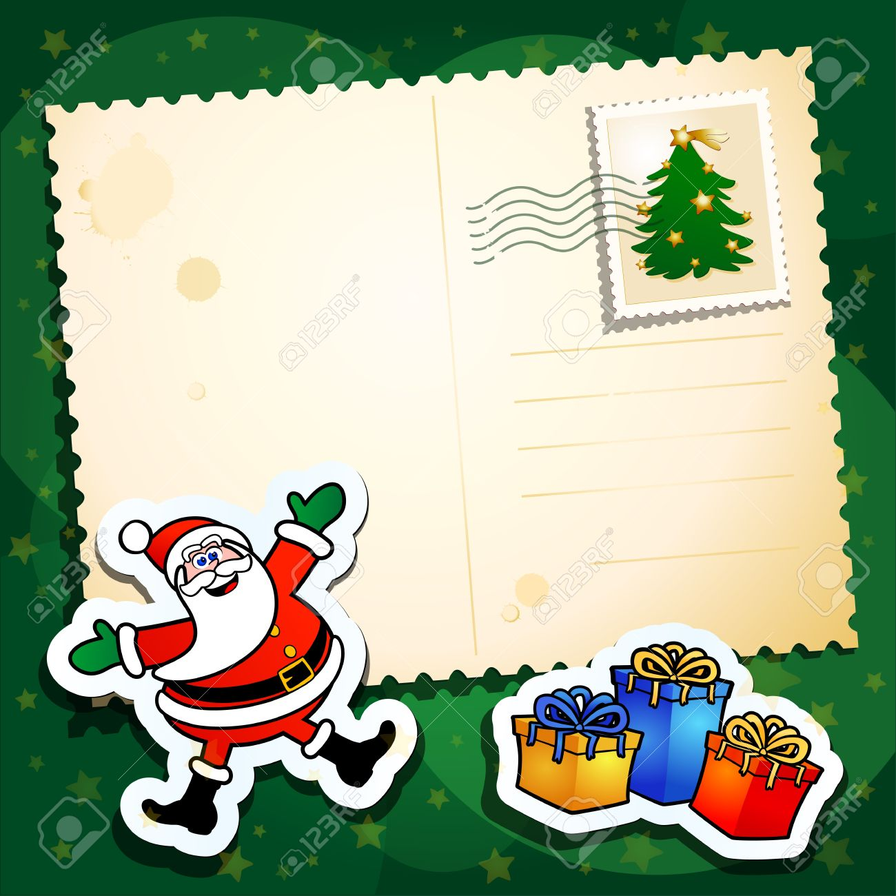 Christmas background with Santa and blank card - 10983704