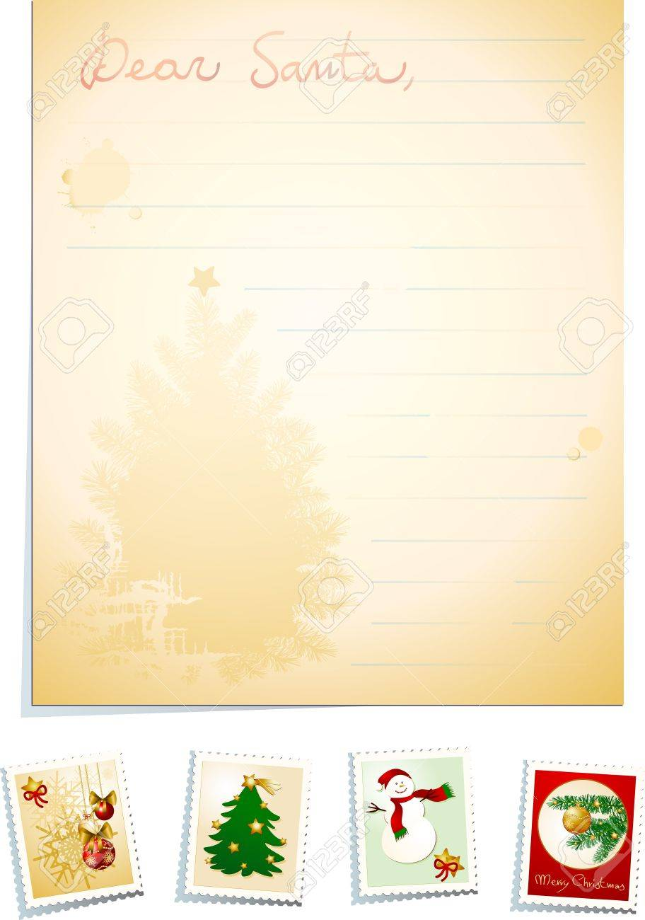 Letter to Santa with stamps, vector background - 11569245