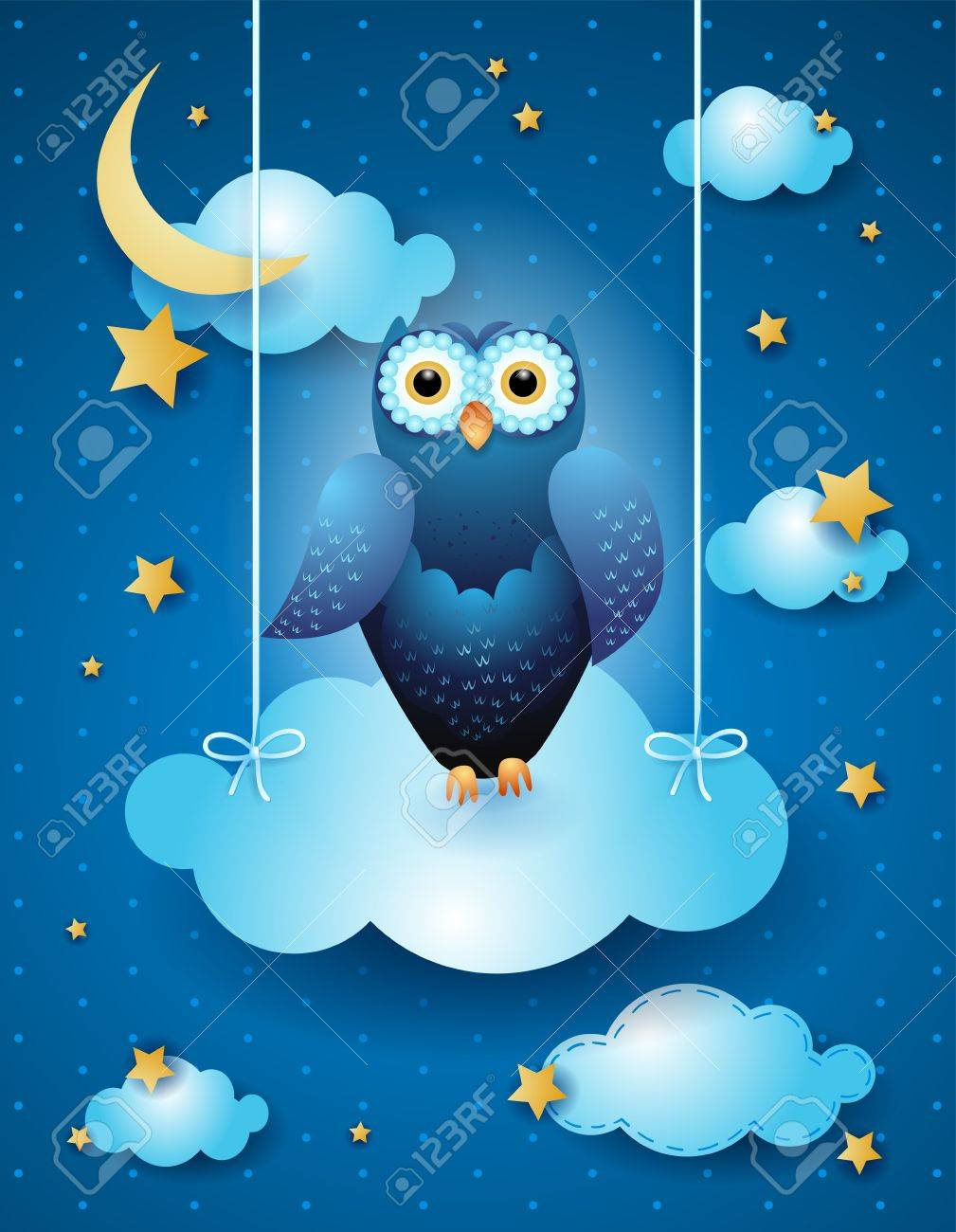 Owl and cloud by night, vector eps10 Stock Vector - 18970320