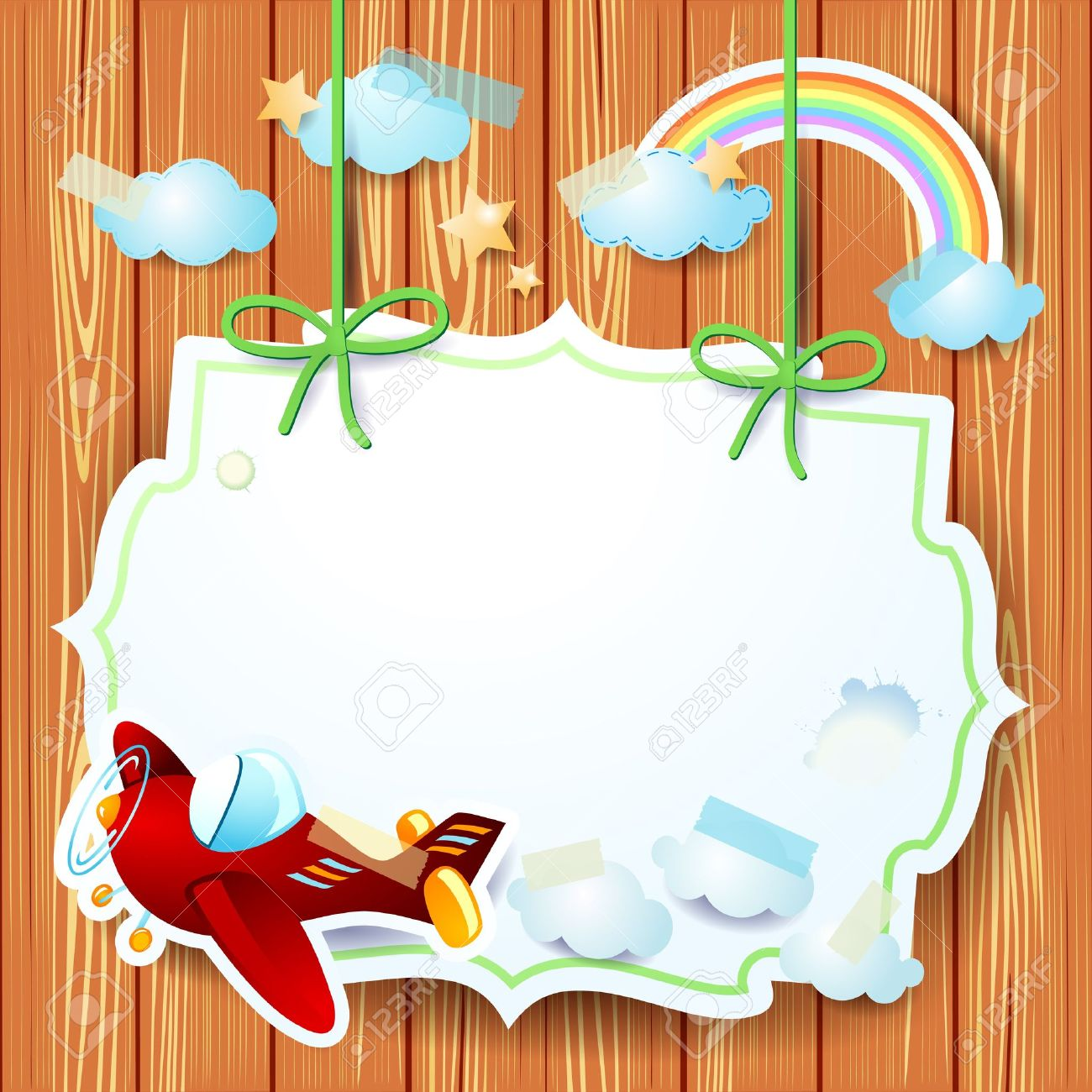 Fantasy background with label and airplane, vector - 19908741