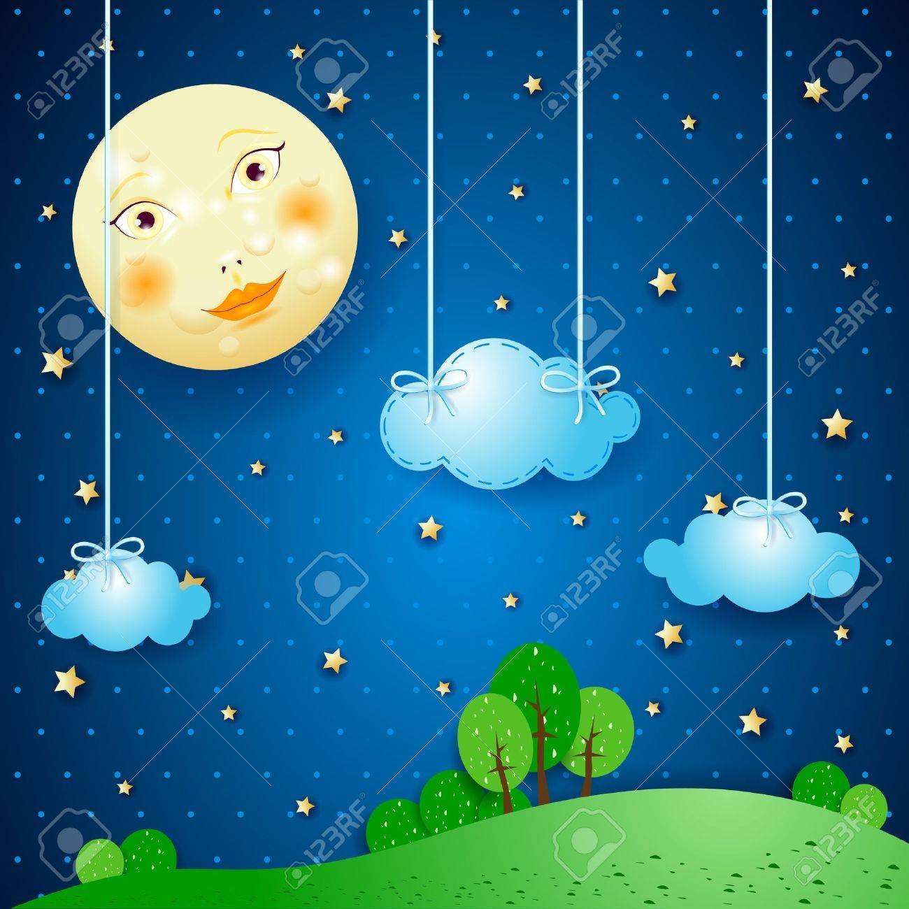 Countryside and moon Stock Vector - 20928514