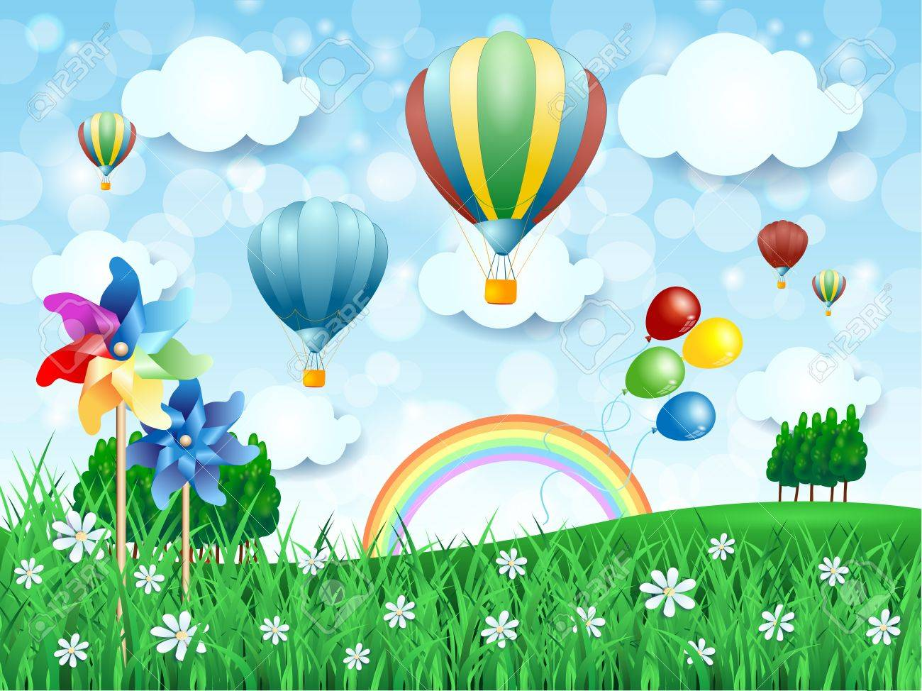 Spring landscape with hot air balloons, vector illustration eps10 - 40273965