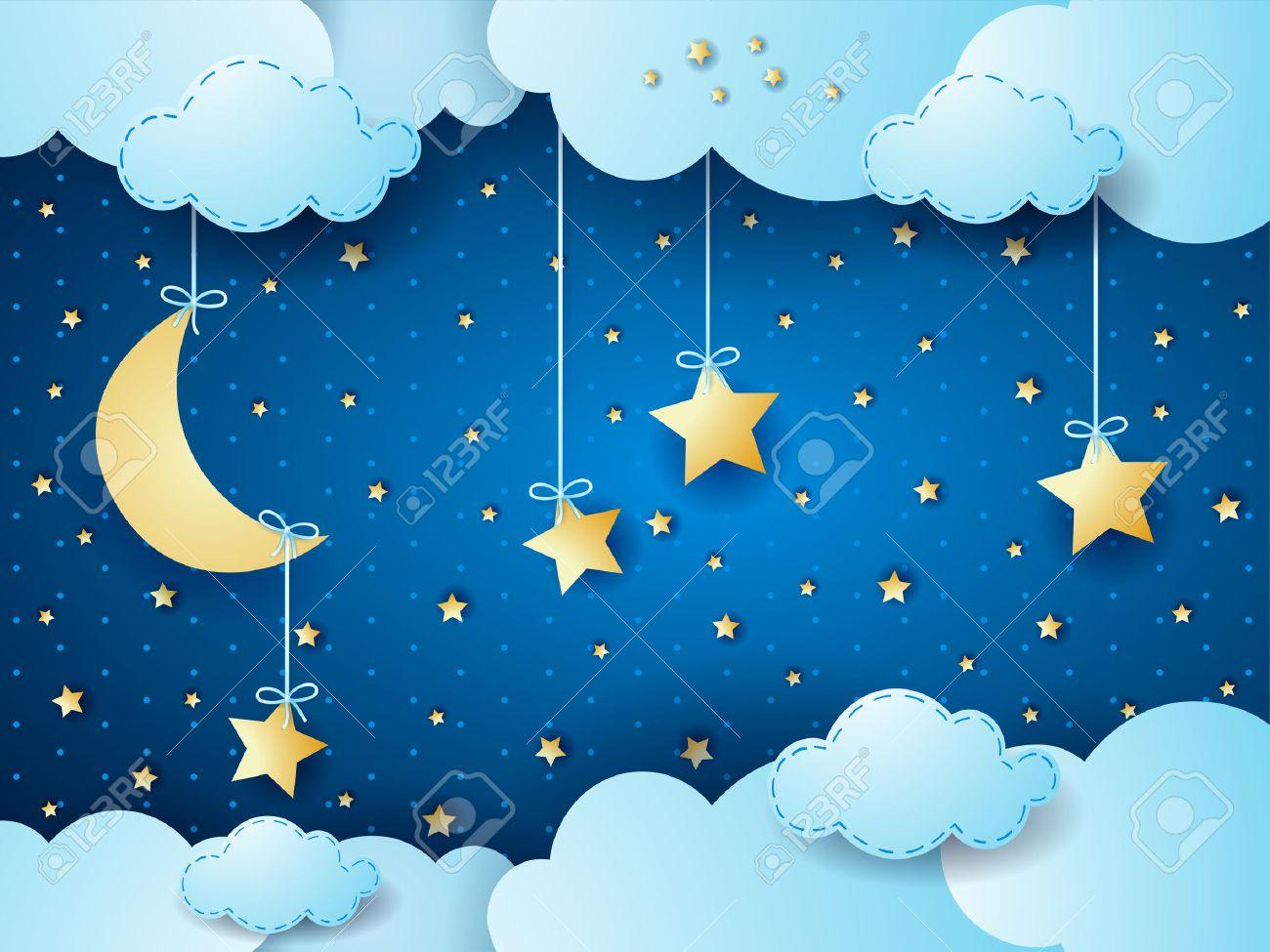 Surreal night, fantasy cloud scape. Vector illustration - 51043839